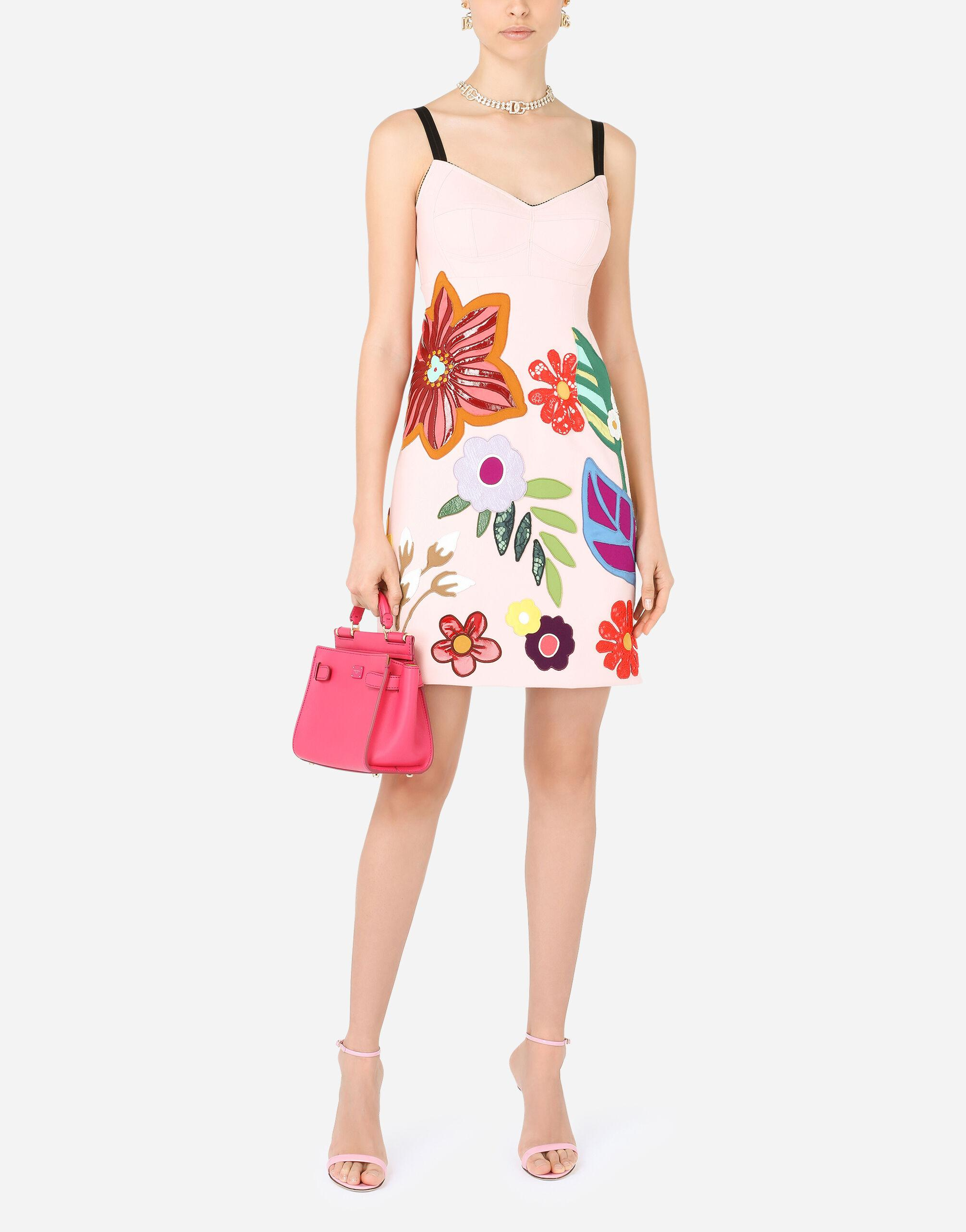 Short cady slip dress with floral patches 4