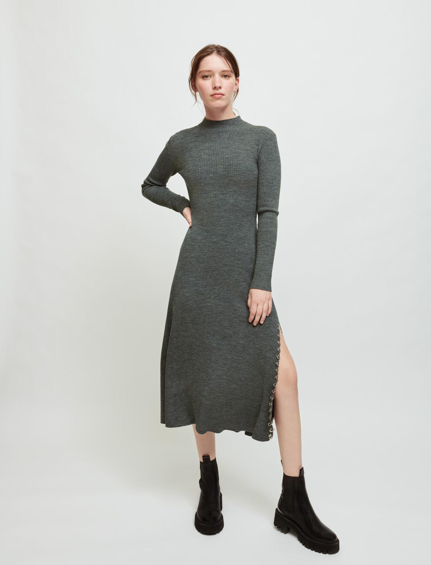 KNITTED SLIT DRESS WITH PIERCINGS 1