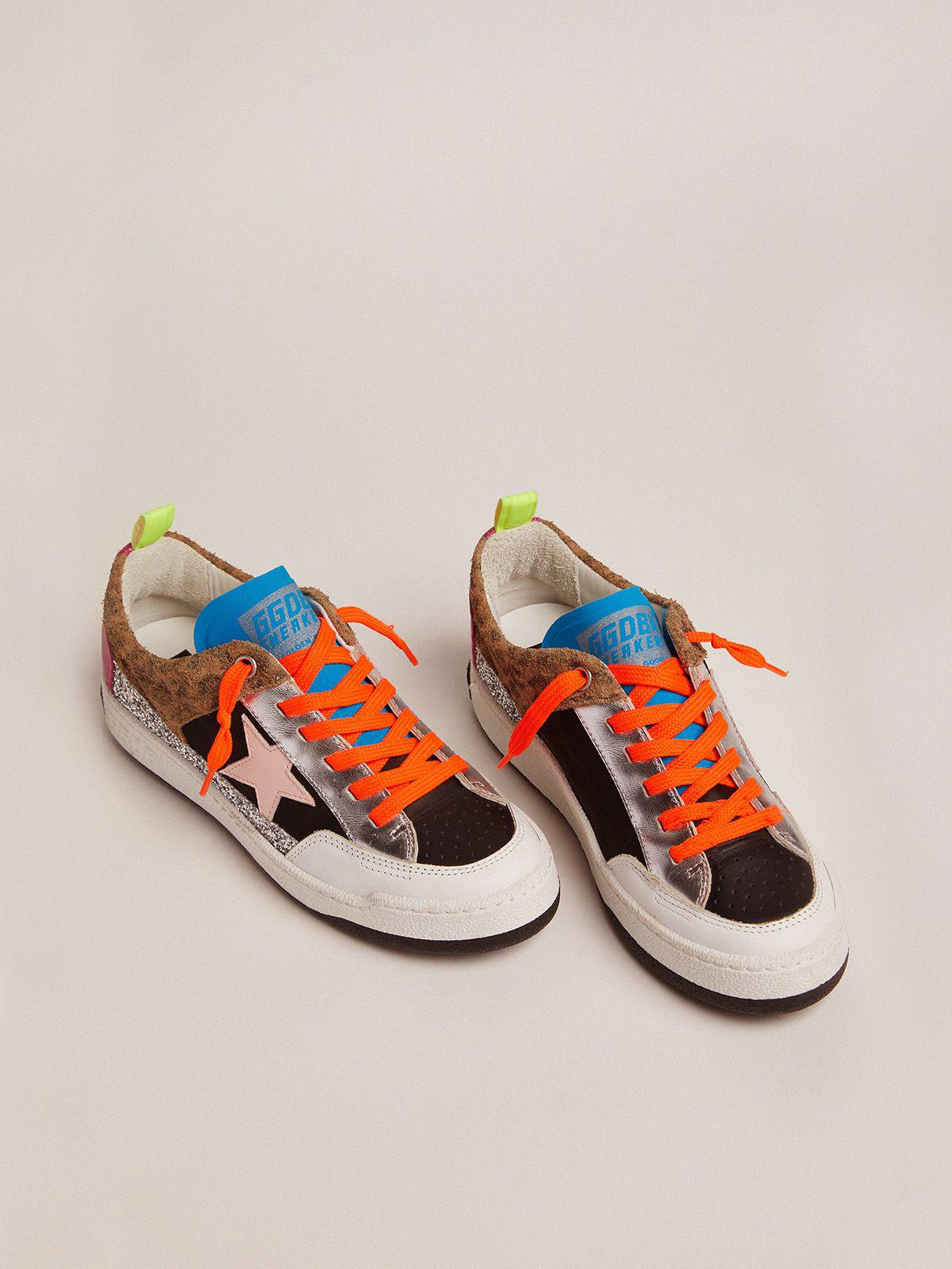 Yeah sneakers with silver glitter, animal-print and colored leather patchwork 1
