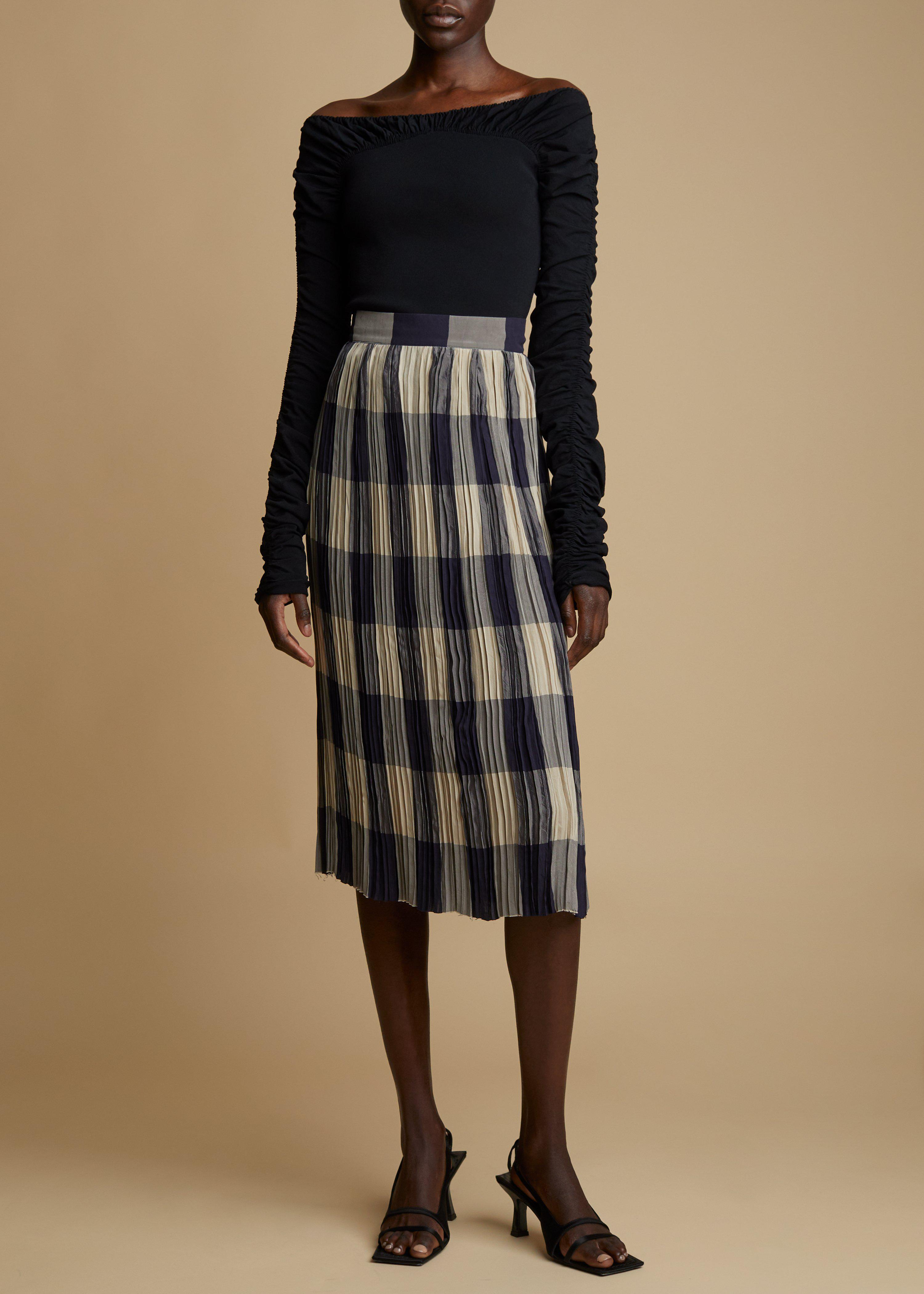 The Sylvia Skirt in Navy and Sand Check