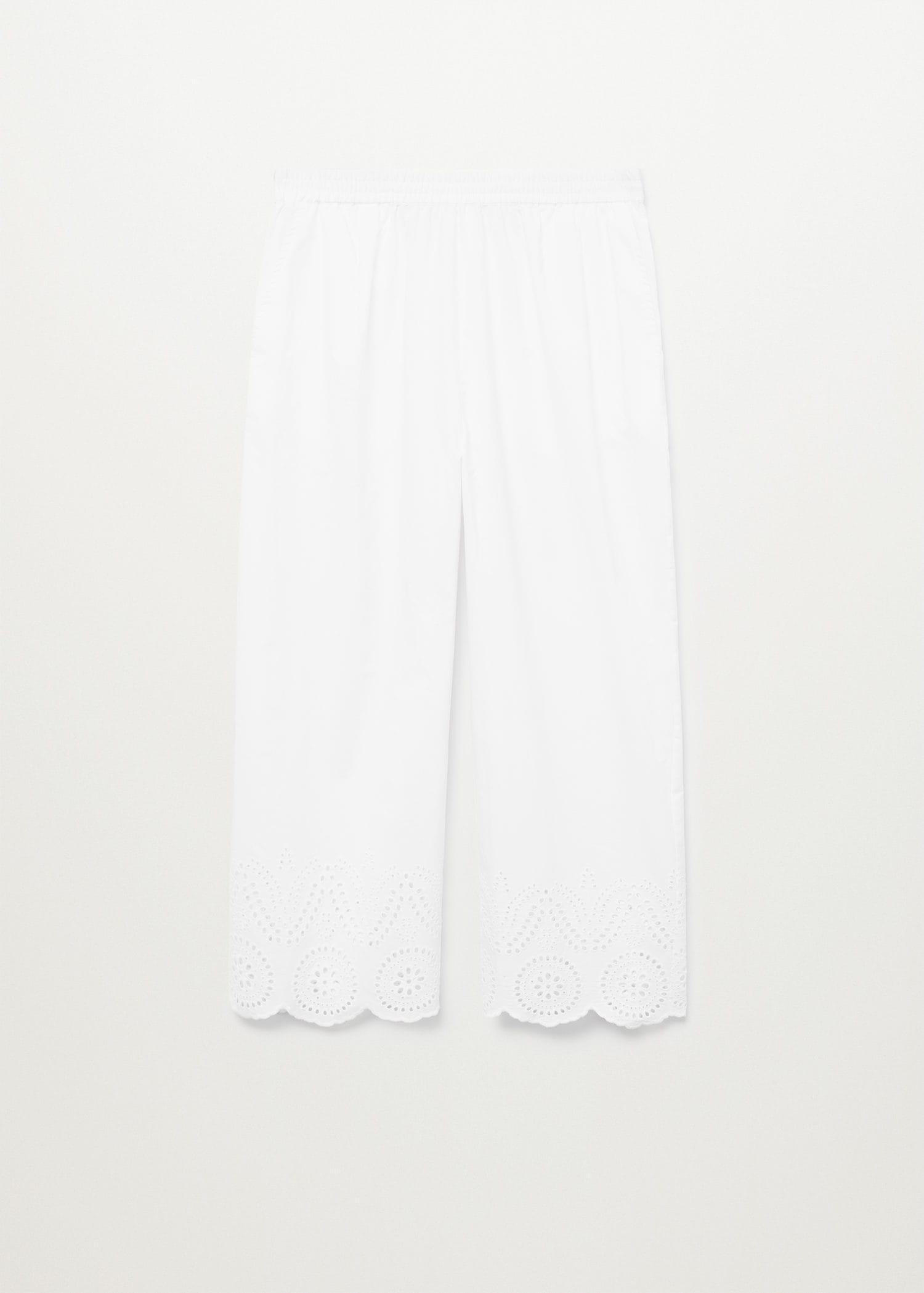 Broderie anglaise cotton pants 8