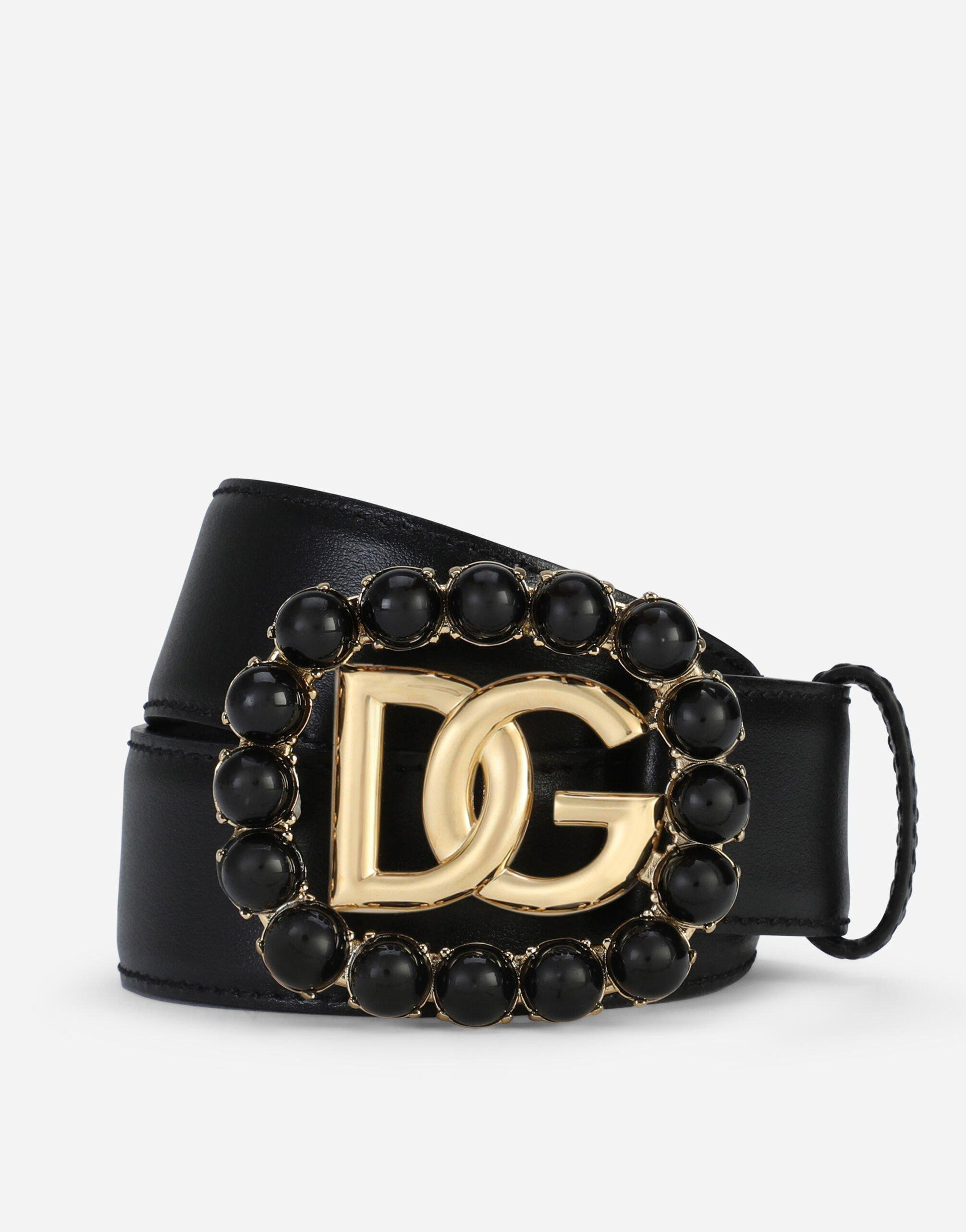 Calfskin belt with DG logo with black pearls