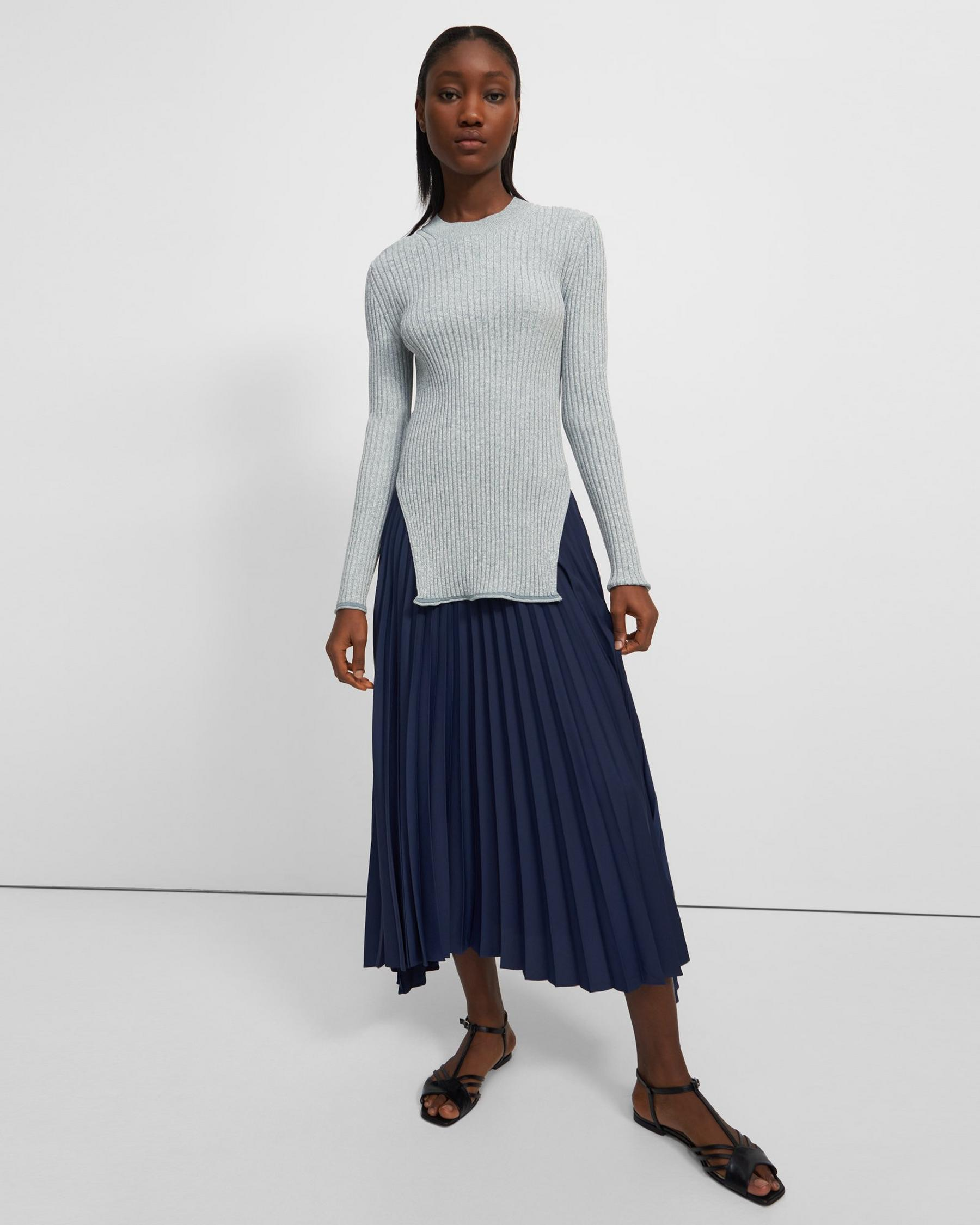Pleated Skirt in Satin Crepe 3