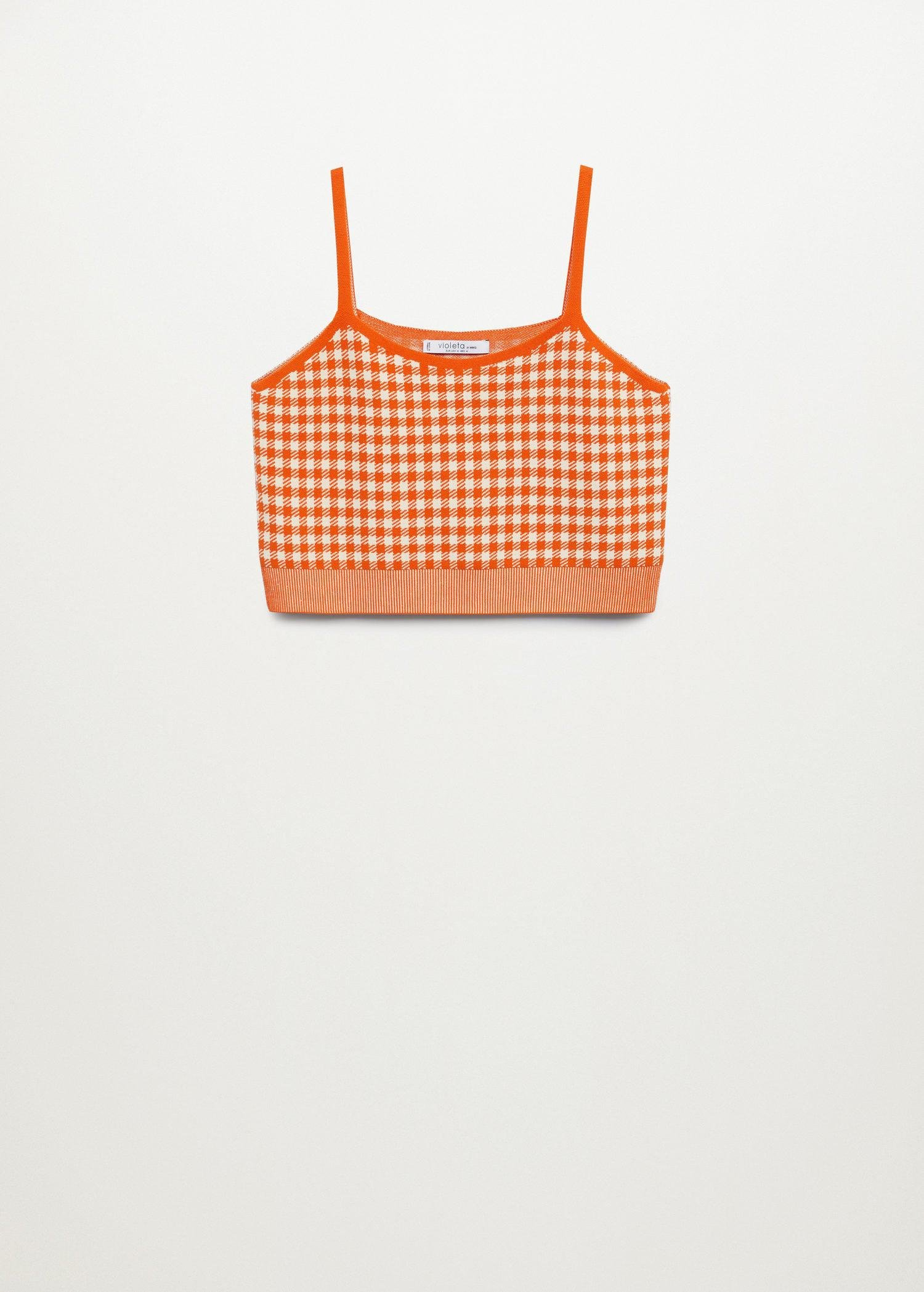 Gingham print knitted top 8