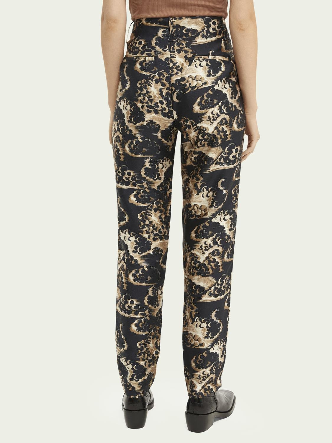Printed tapered mid-rise trousers 2