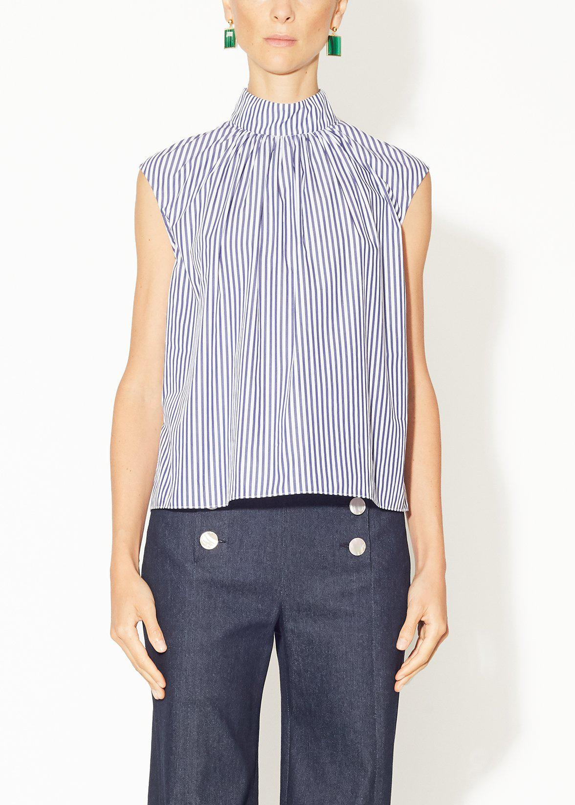SHIRRED NECK TOP IN STRIPED SHIRTING