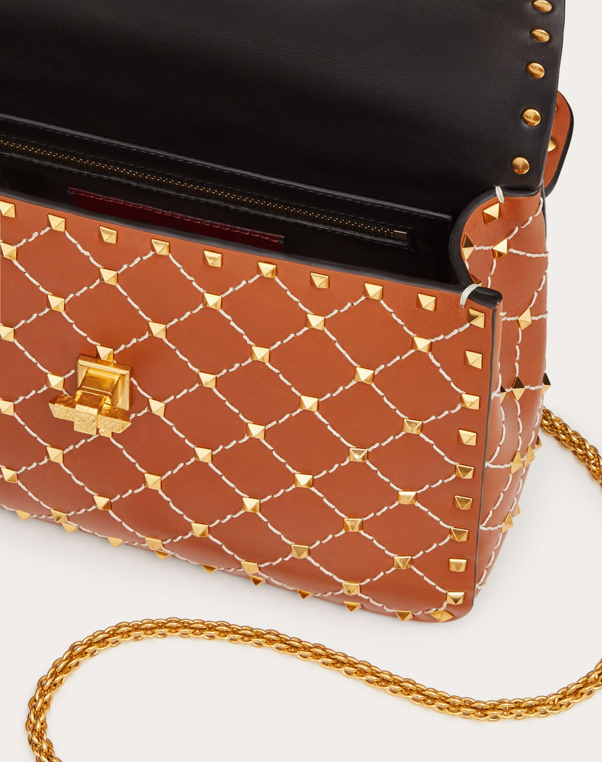 Medium Spike.It Nappa Bag with Leather Grid Detailing 3