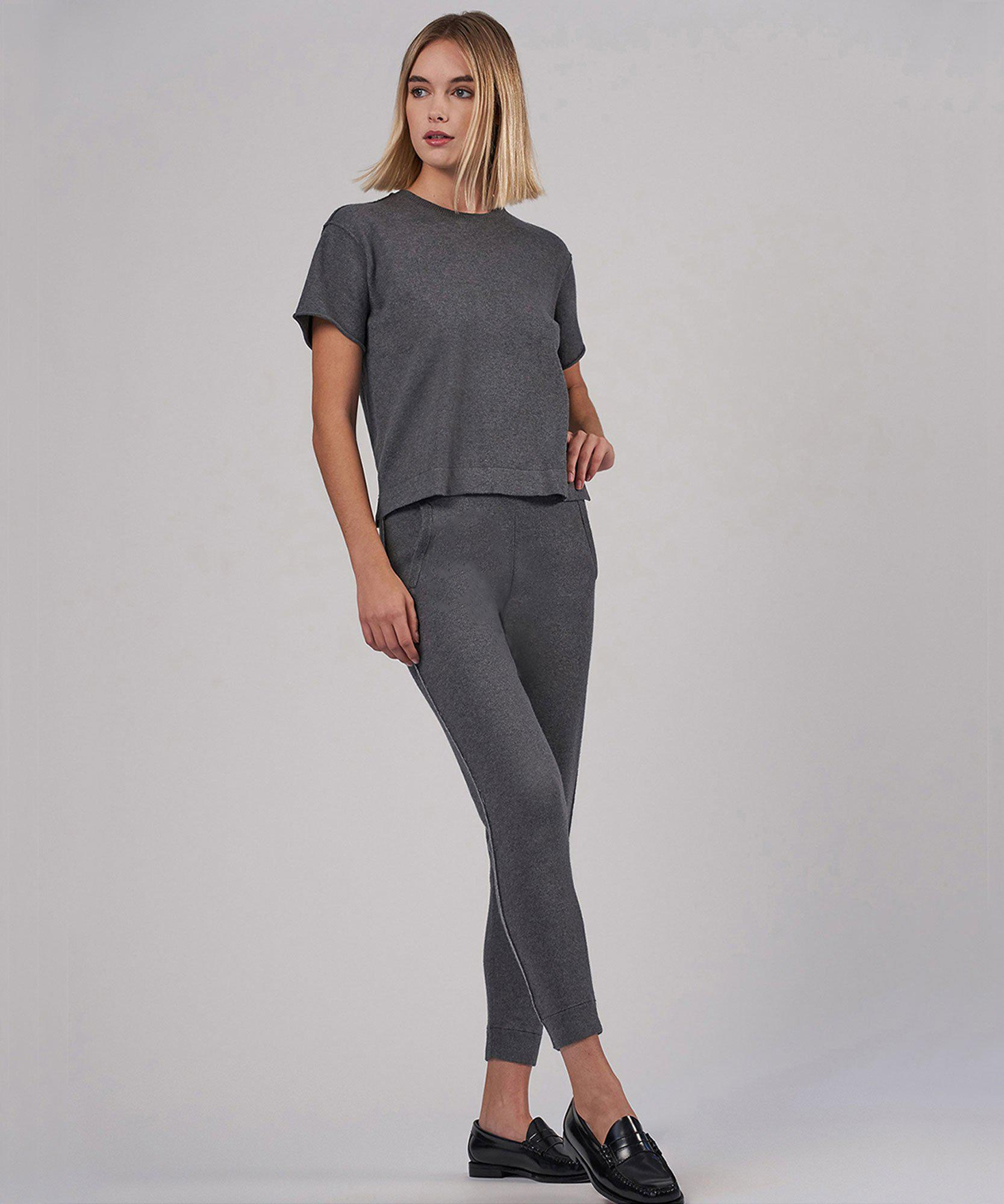 Cotton Cashmere Sweater Pant - Heather Charcoal 3
