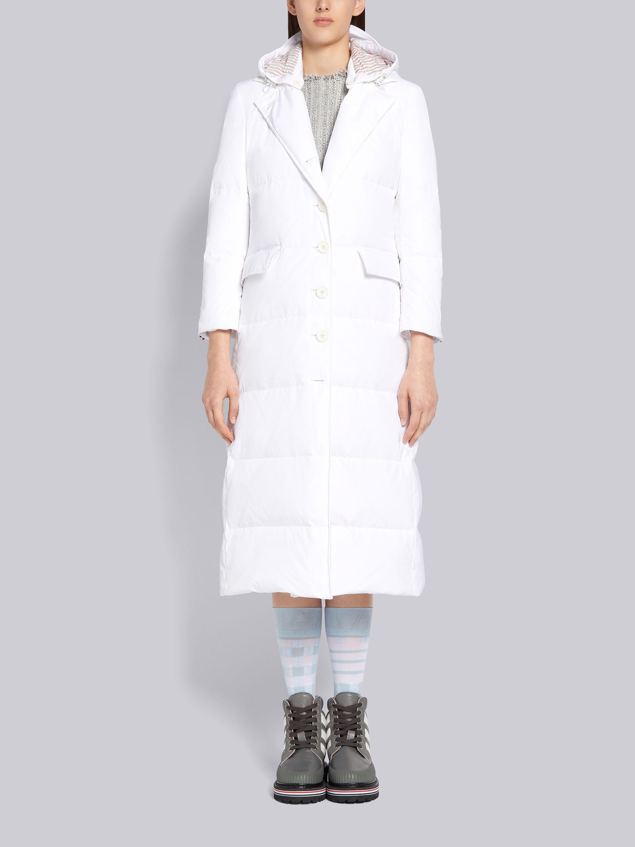 White Down Filled Poly Twill Center Back Stripe Wide Lapel Removable Hood Overcoat