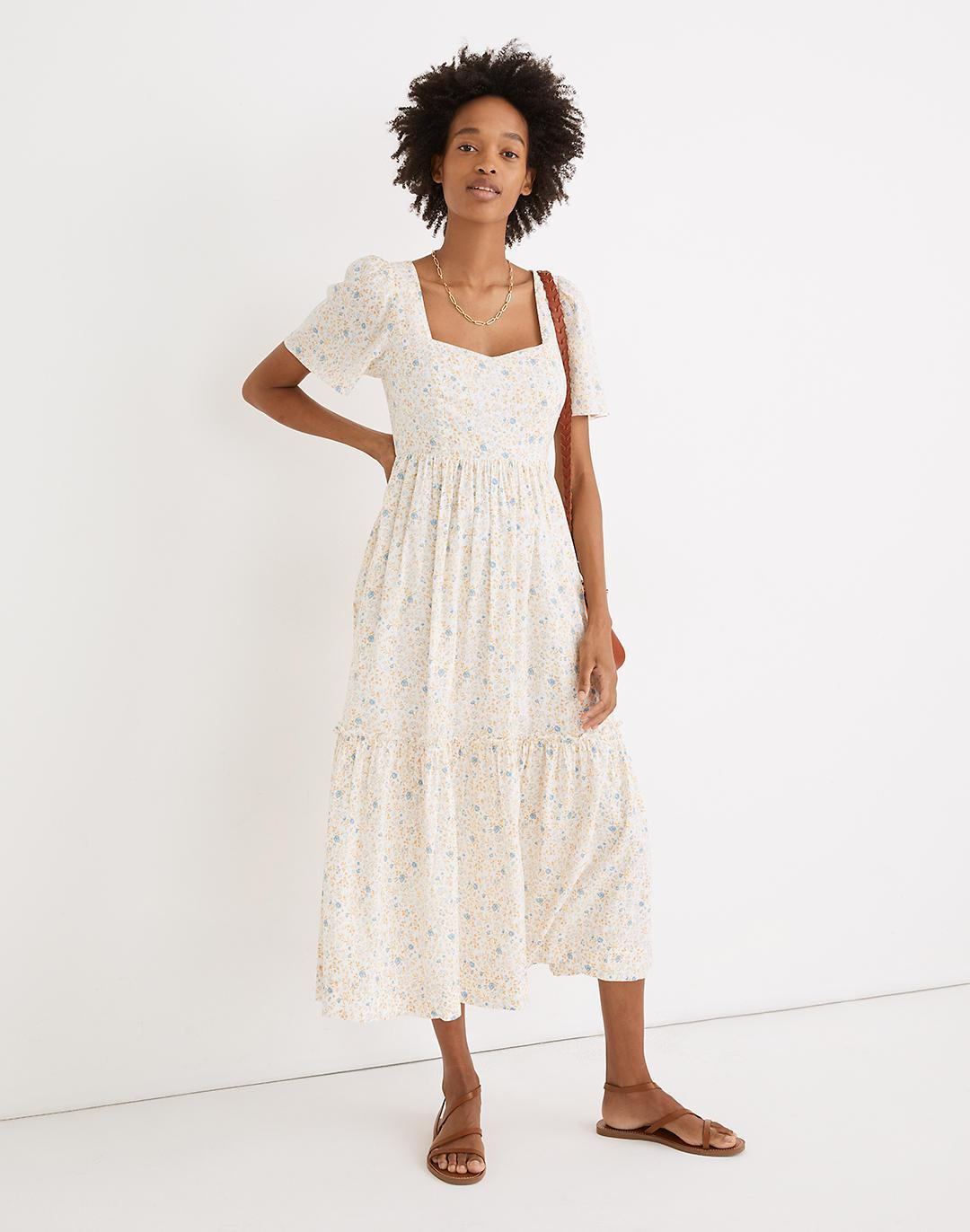 Flutter-Sleeve Tiered Maxi Dress in Folkmagic Floral