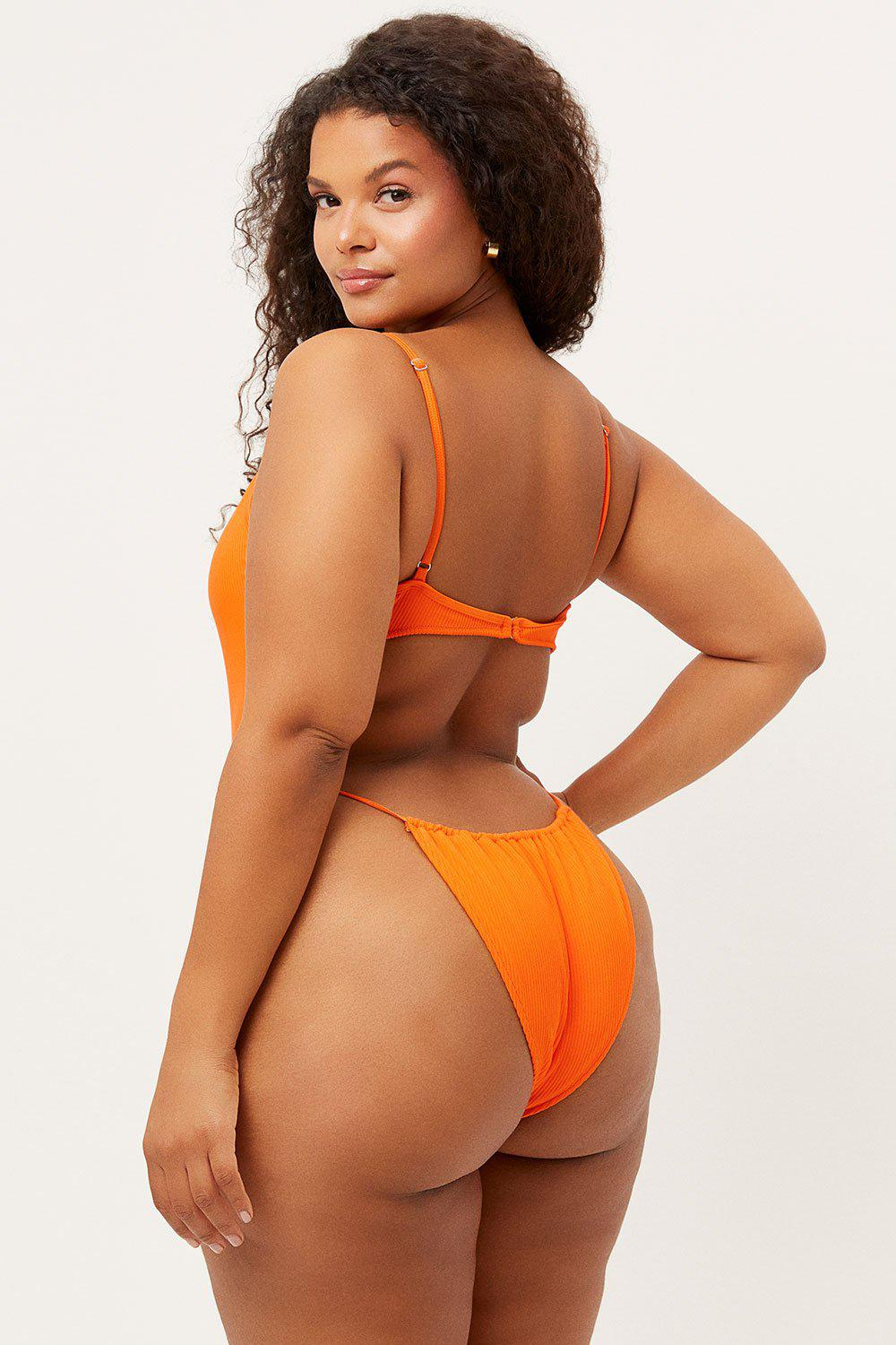 Croft Ribbed High Cut One Piece Swimsuit - Marmalade 2
