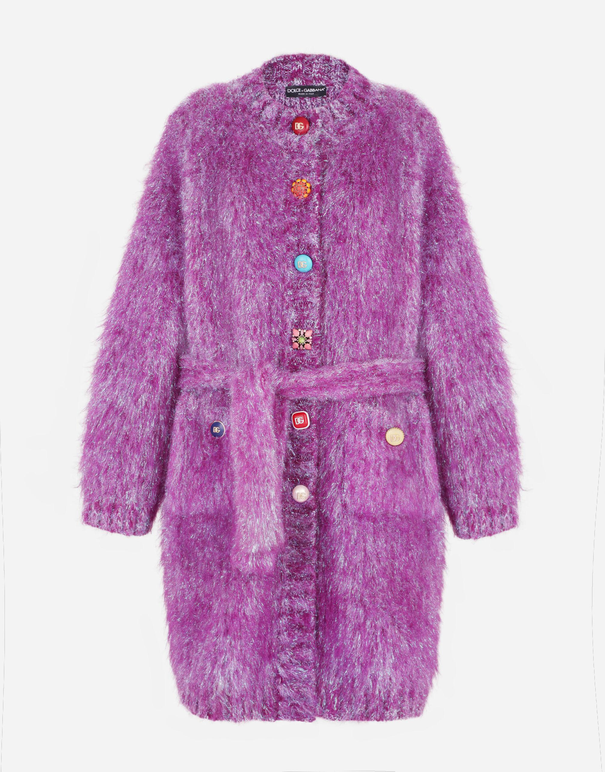 Knit coat with bejeweled buttons 4