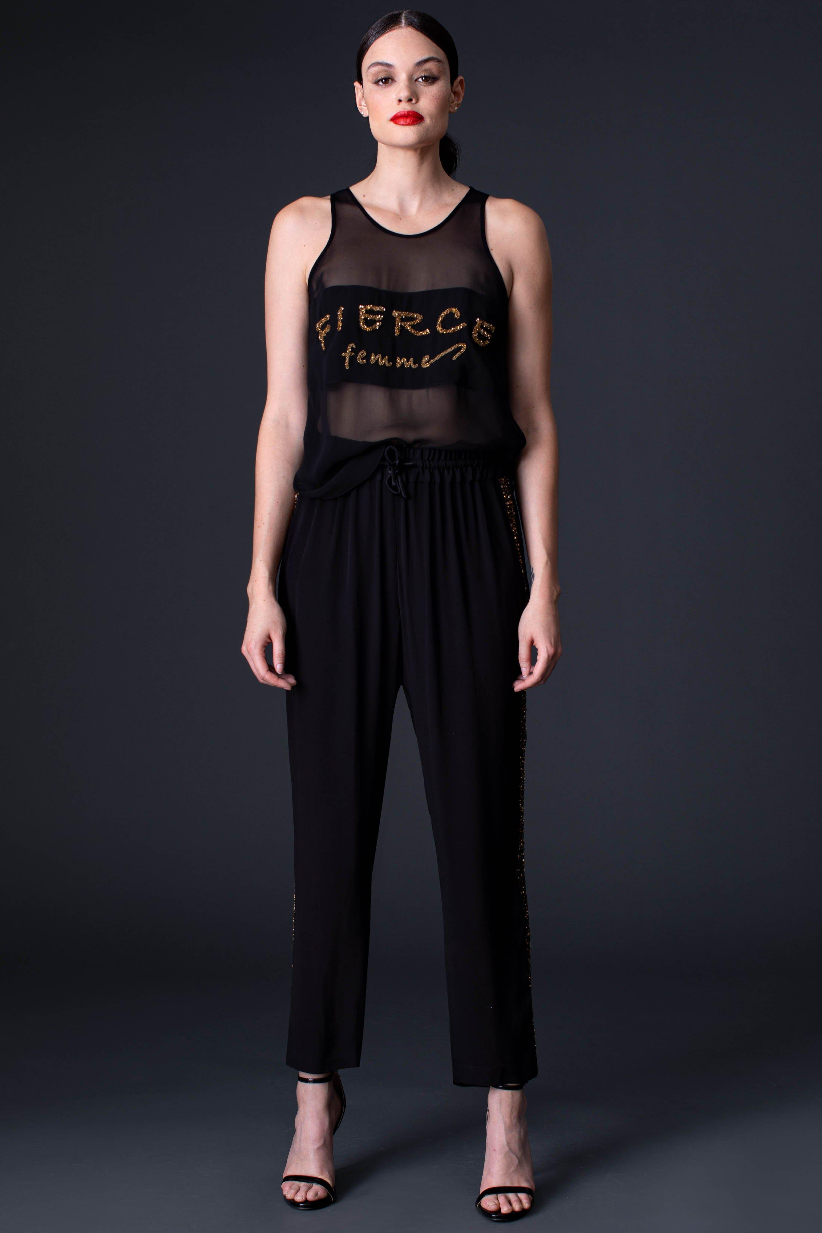 SEQUIN TRACK PANT