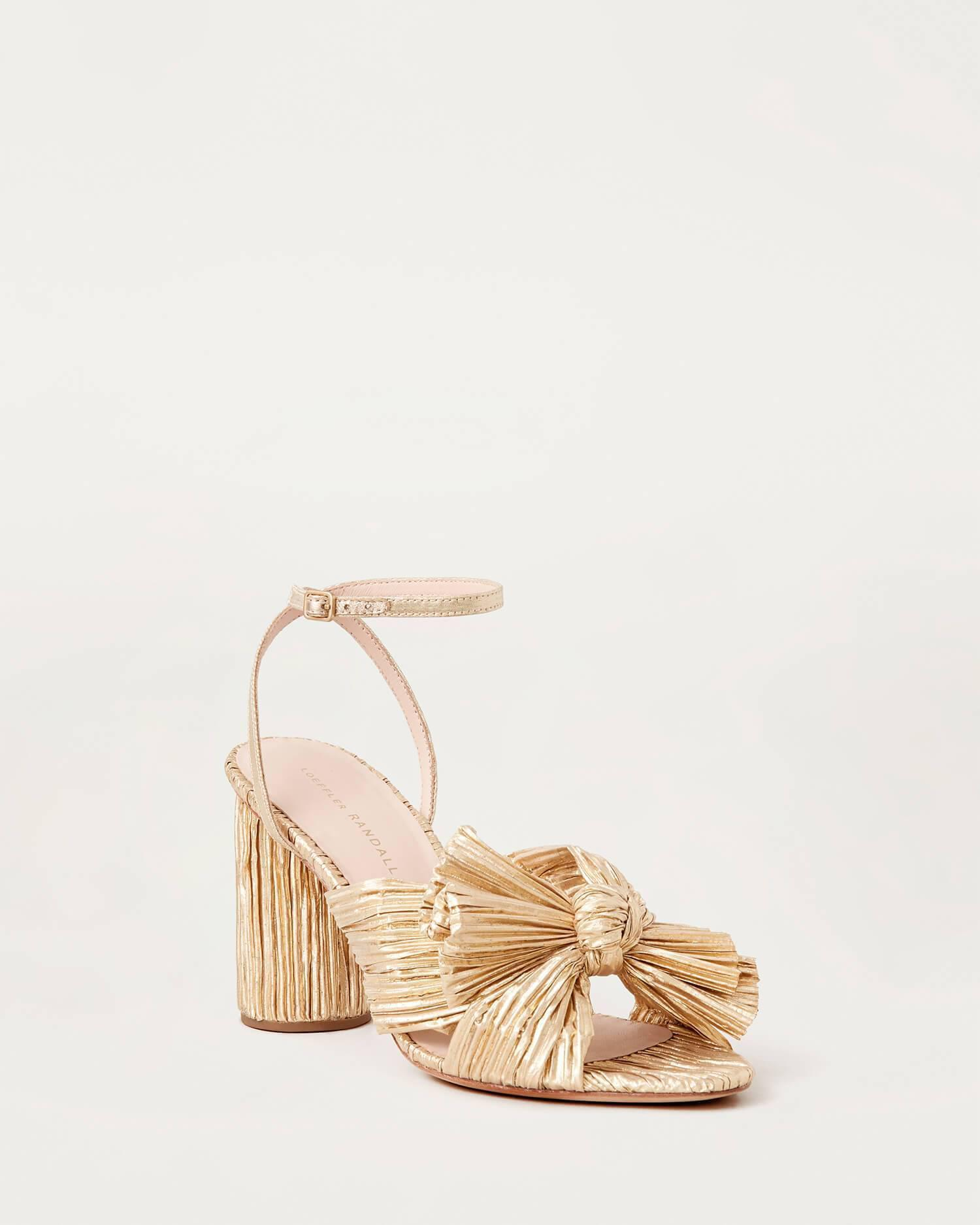 Camellia Gold Pleated Bow Heel