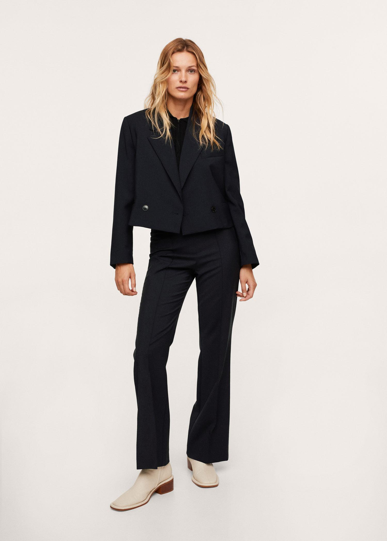 Cropped blazer with buttons 1