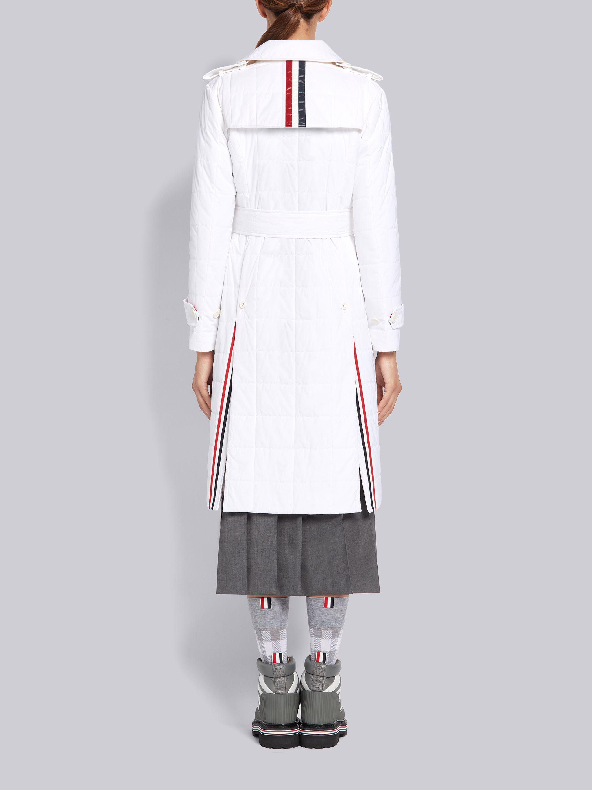 White Down Filled Poly Twill Center Back Stripe Classic Trench Coat 1