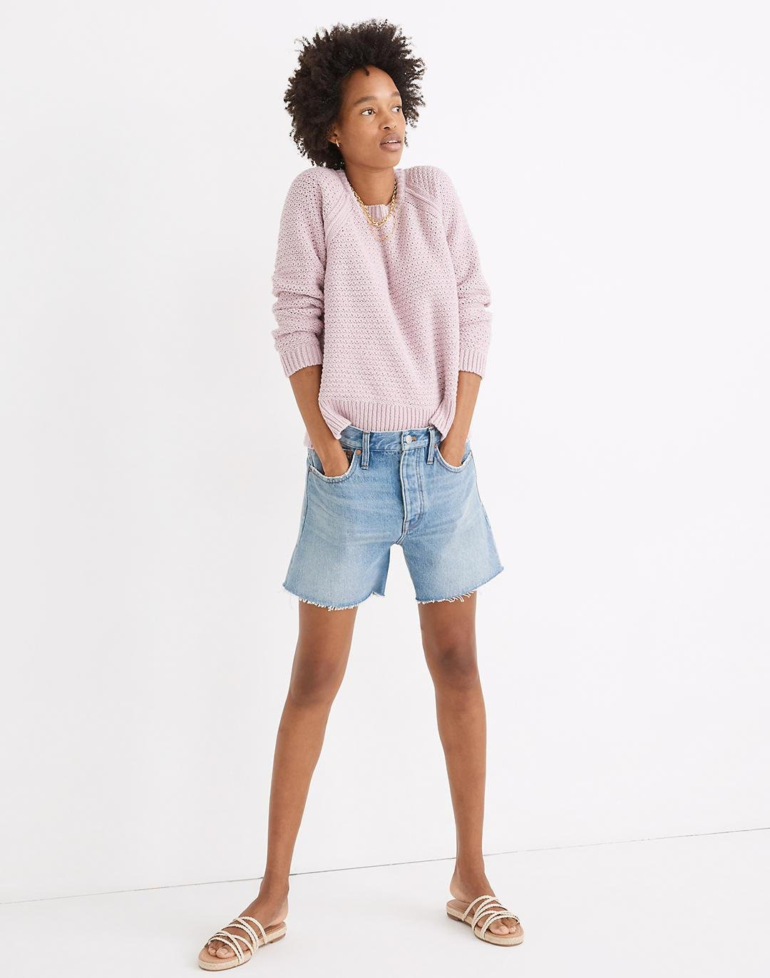 Relaxed Mid-Length Denim Shorts in Scottsburg Wash