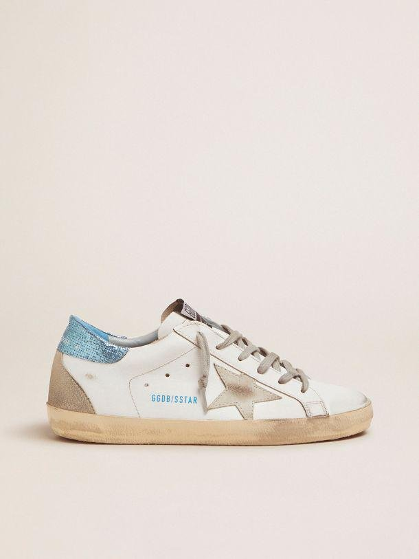 White Super-Star LTD sneakers with blue laminated heel tab