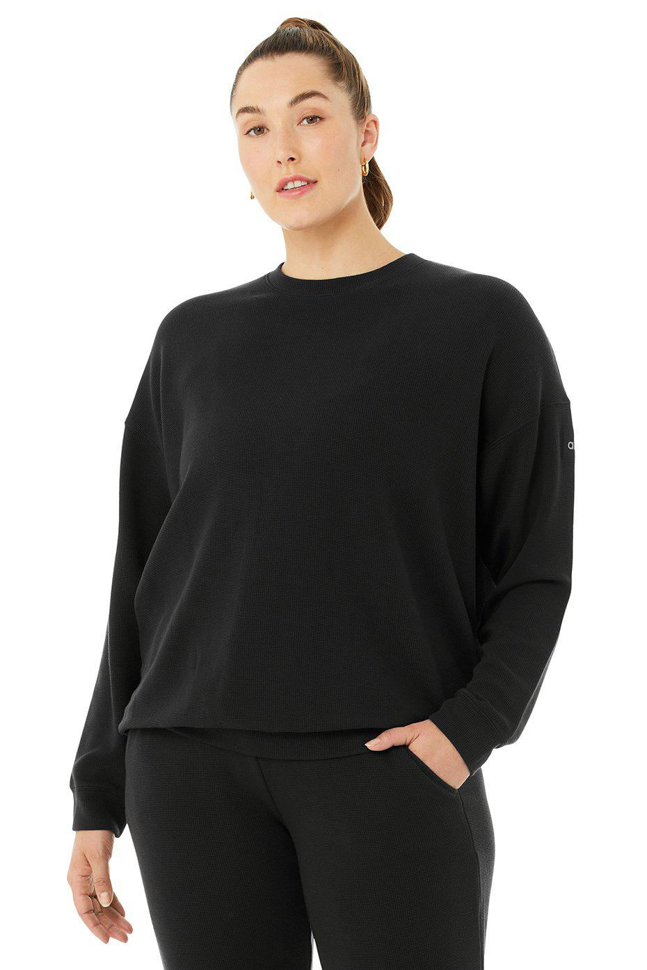 Micro Waffle Relaxation Pullover - Black 5