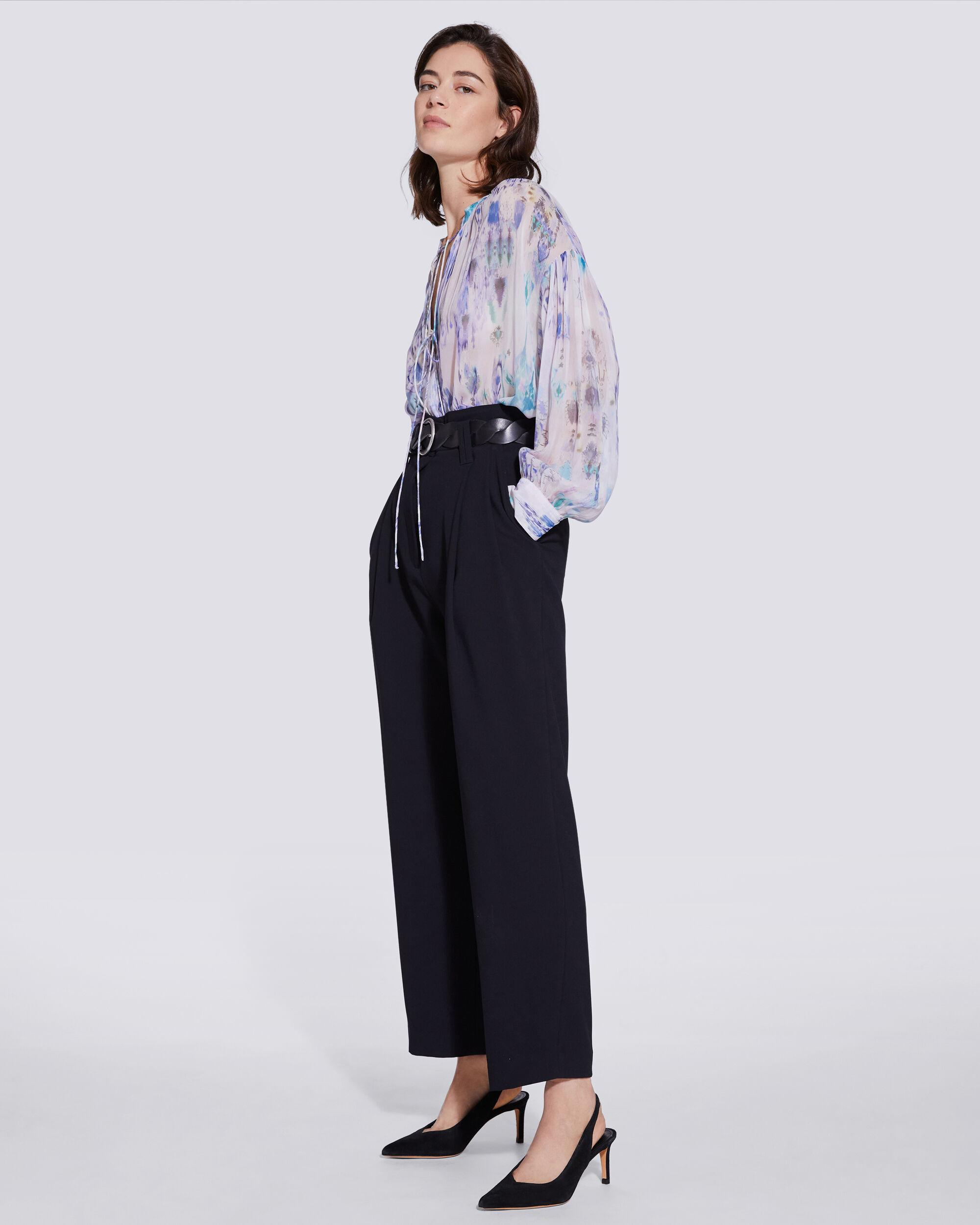 LADE TIE FRONT SHEER PRINTED BLOUSE 2