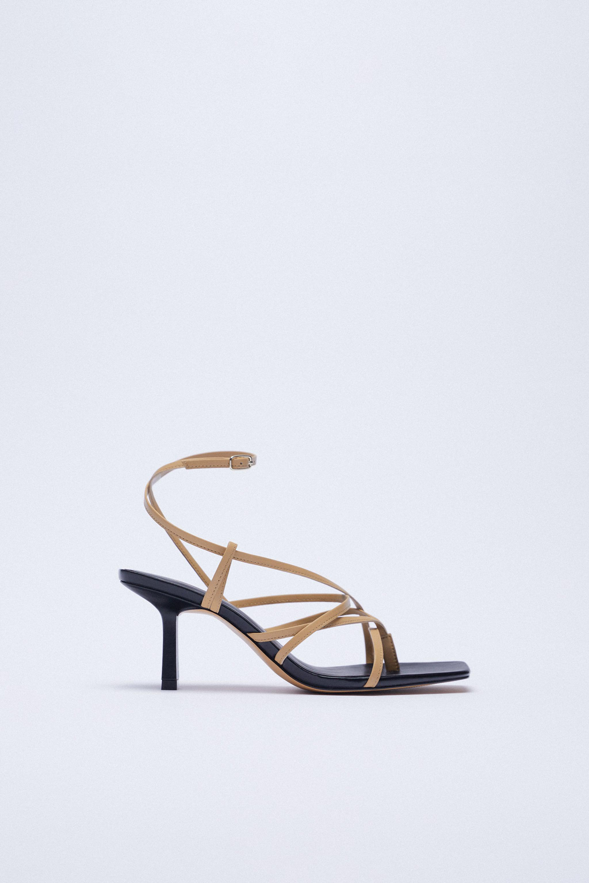 LEATHER HIGH HEELED STRAPPY SANDALS 2