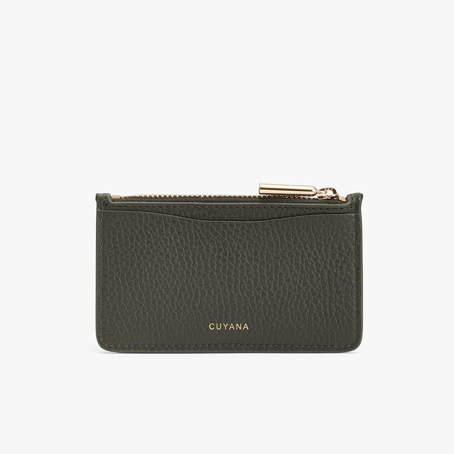 Women's Zip Cardholder in Dark Olive | Pebbled Leather by Cuyana