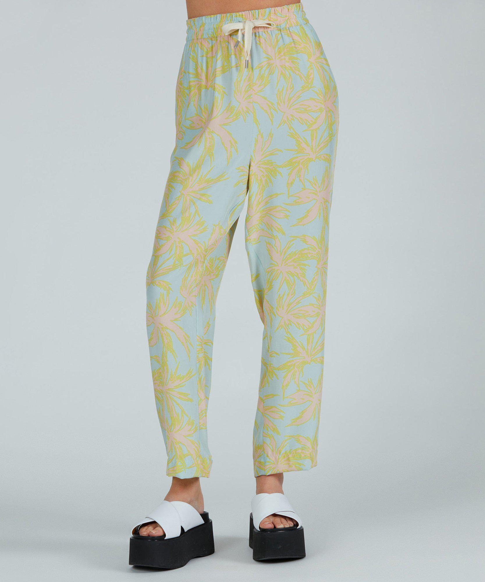 Palm Print Silk Charmeuse Pull-On Pant - Surf Combo