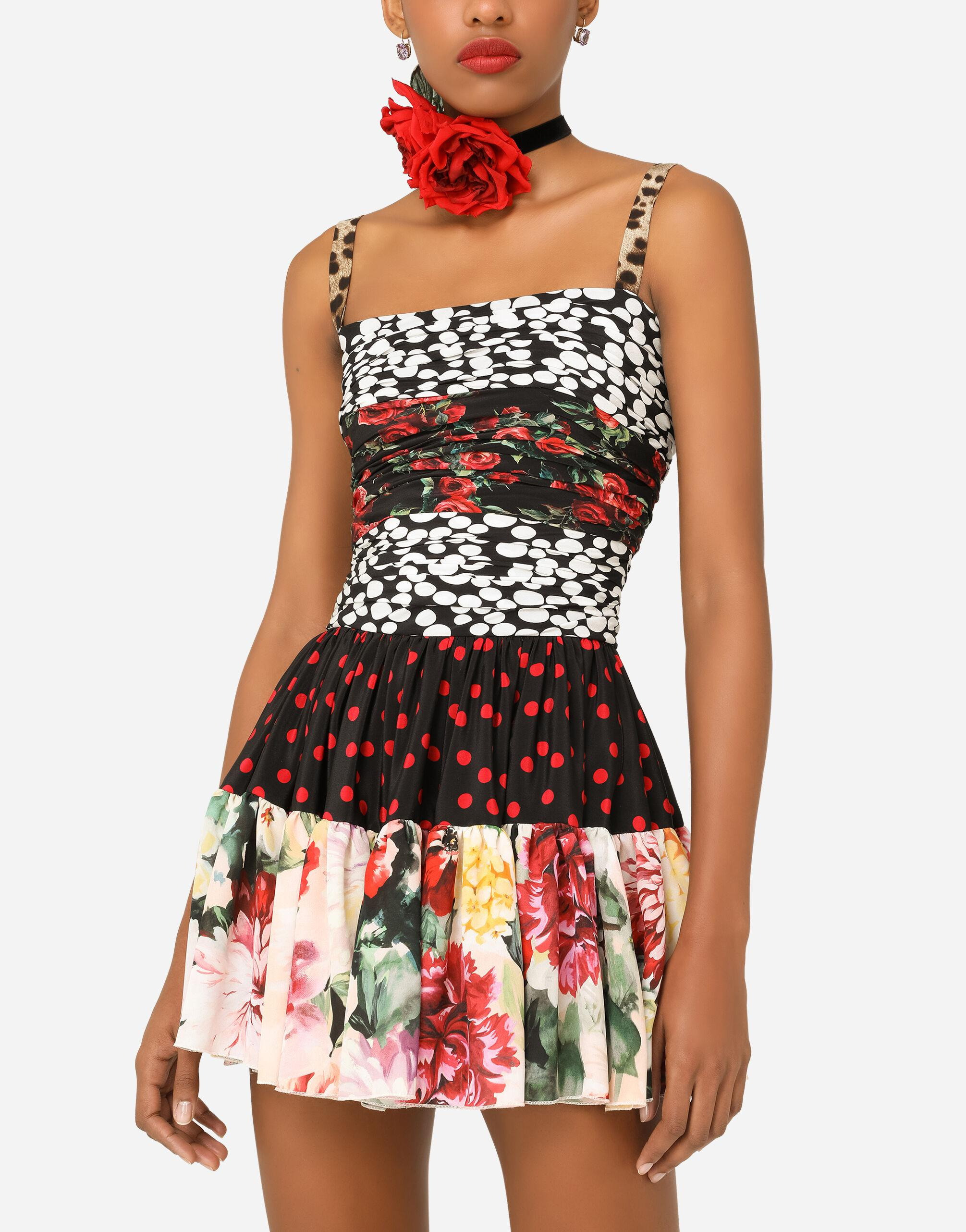 Short patchwork crepe de chine and charmeuse dress 2