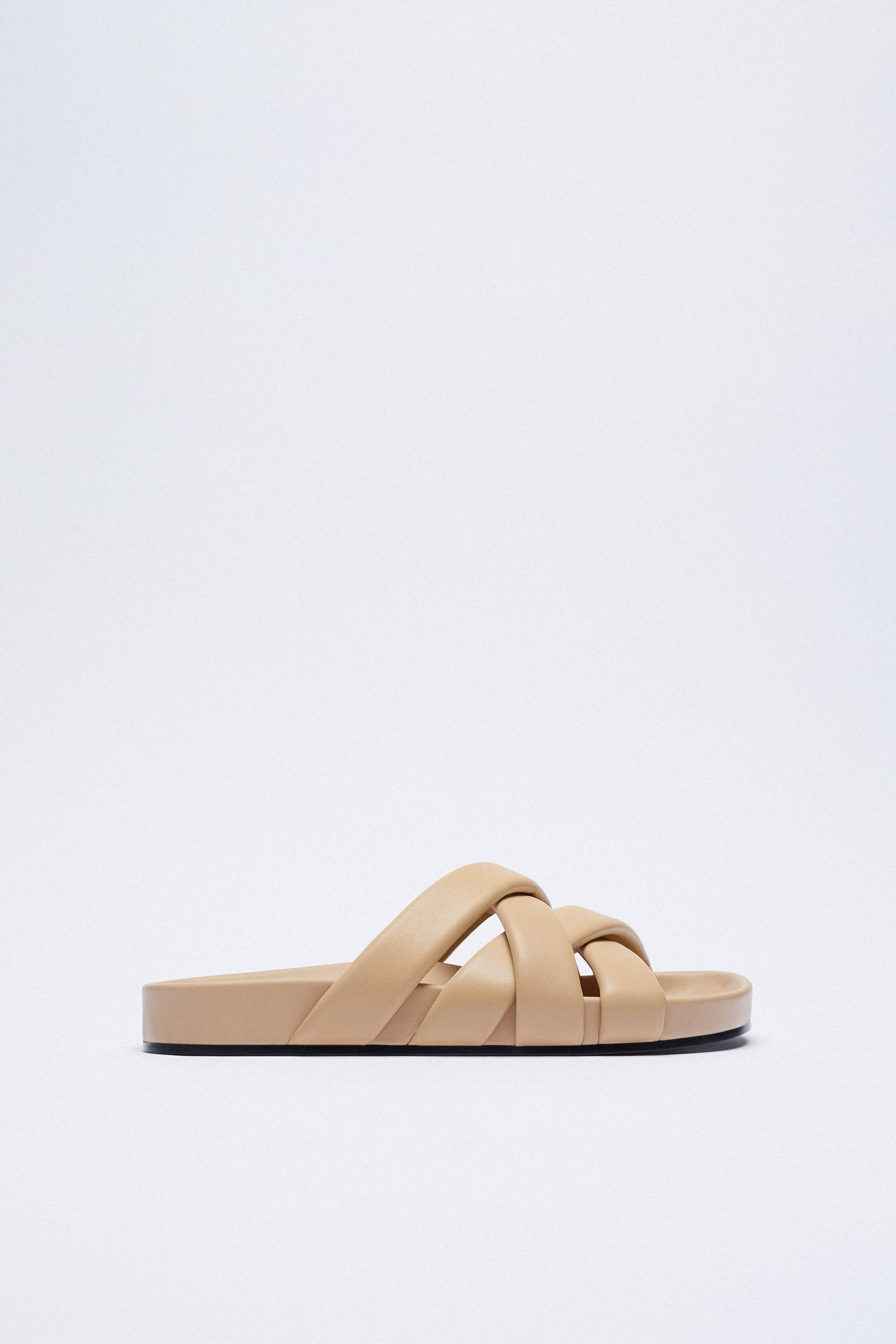 CHUNKY QUILTED STRAP LEATHER SANDALS