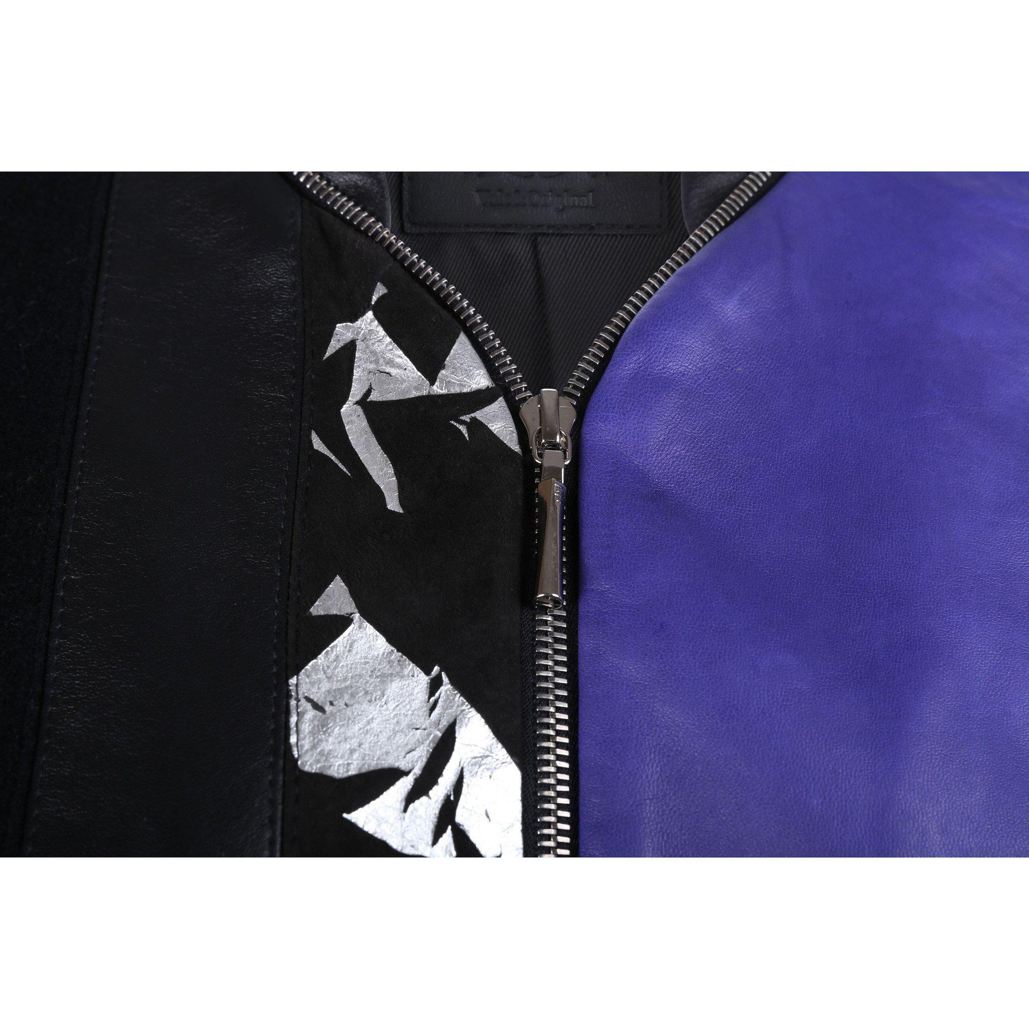 Black and Purple Leather Bomber Jacket with Silver Print Motif 4