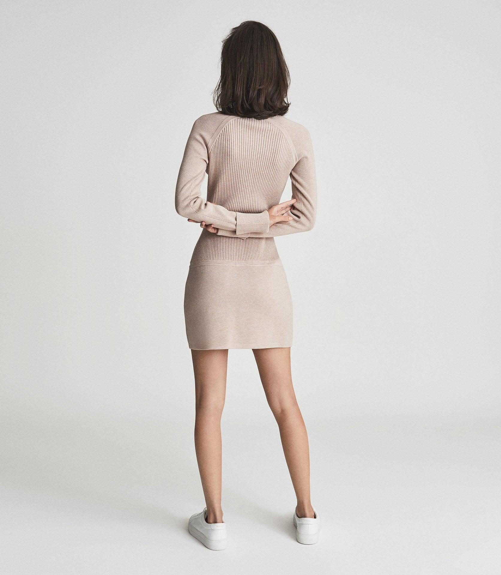 ASHLEIGH - KNITTED BODYCON DRESS WITH ZIP DETAIL 3