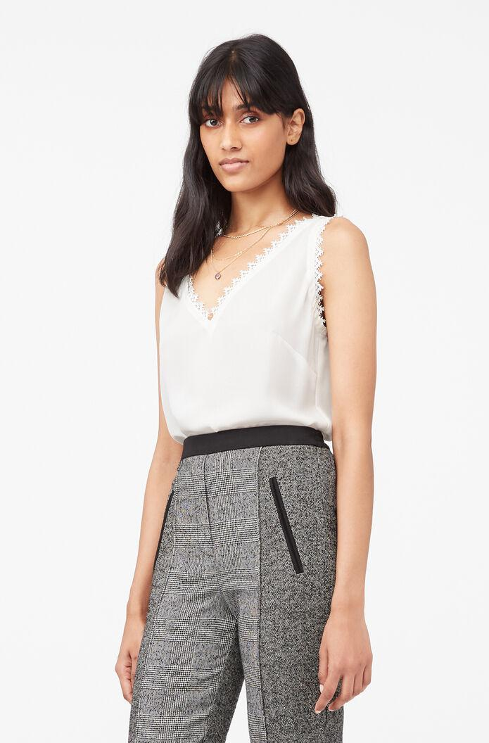 TAILORED SILK DOUBLE GEORGETTE & LACE TANK