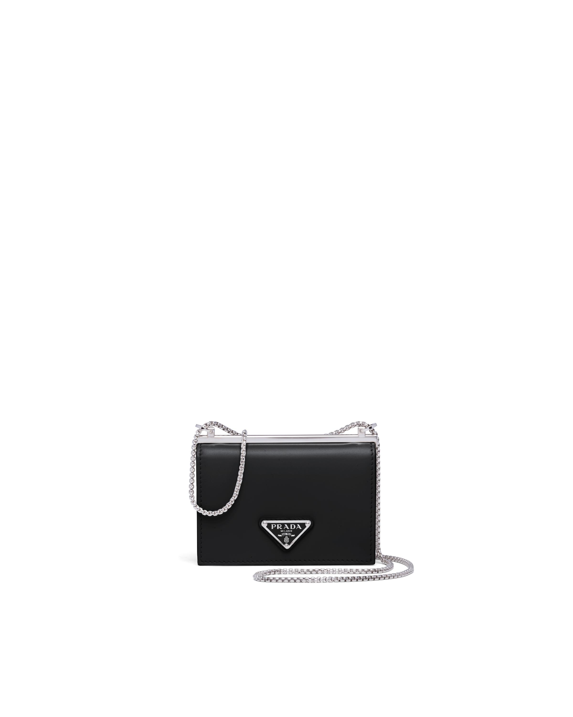 Brushed Leather Chain Card Holder Women Black 3