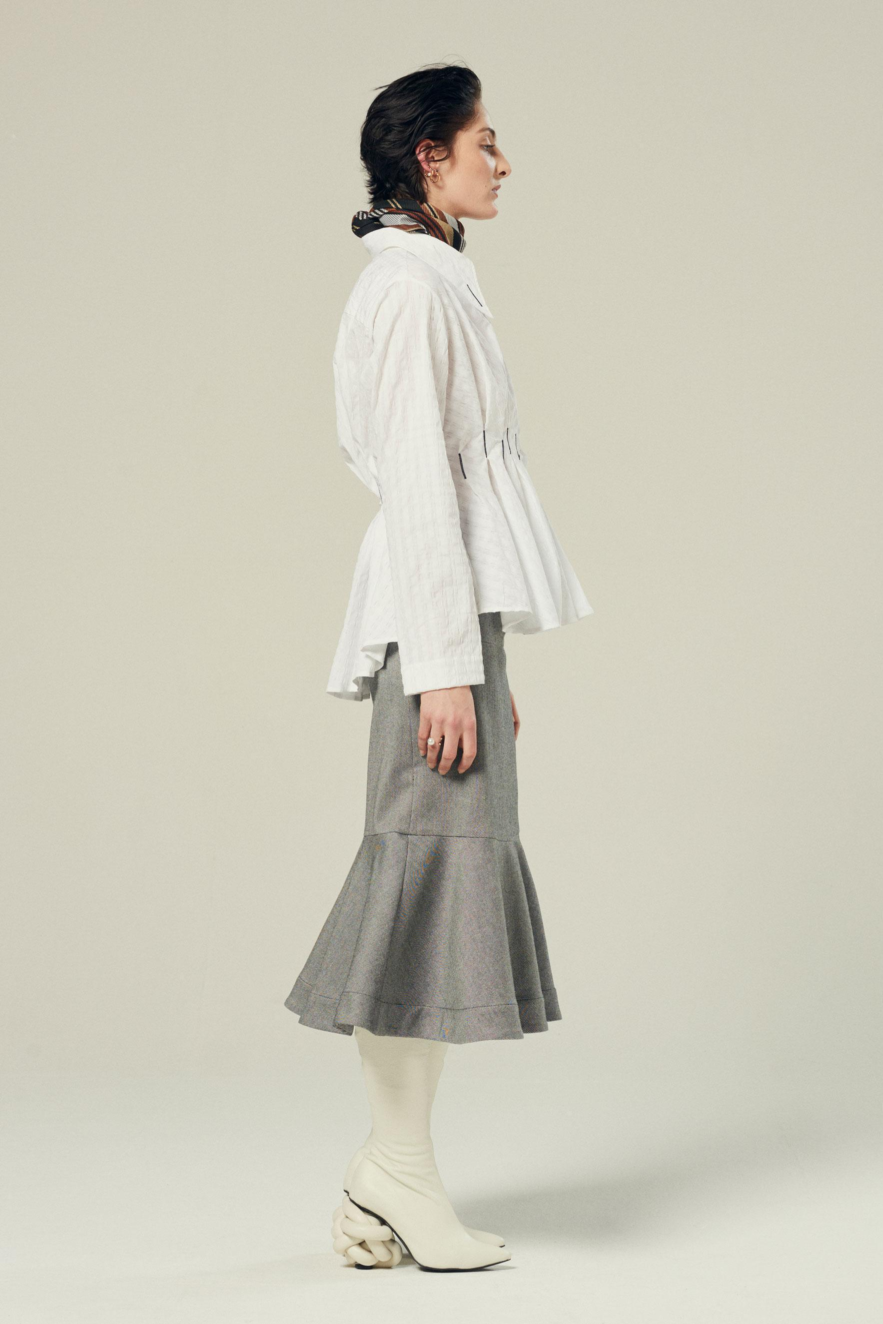 waisted pleated shirt in white textured cotton 3