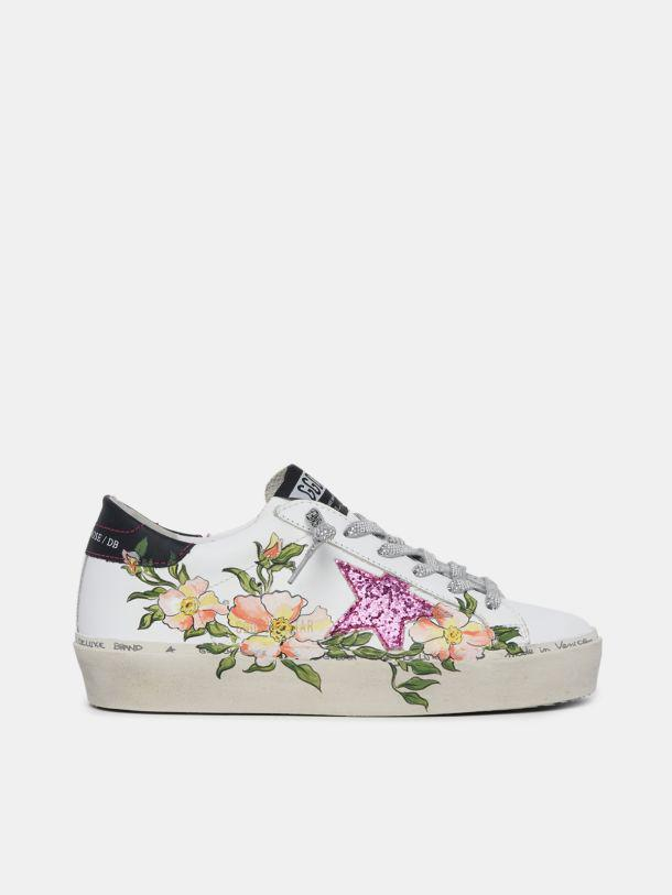 Hi-Star sneakers with hand-painted flowers and fuchsia star with glitter