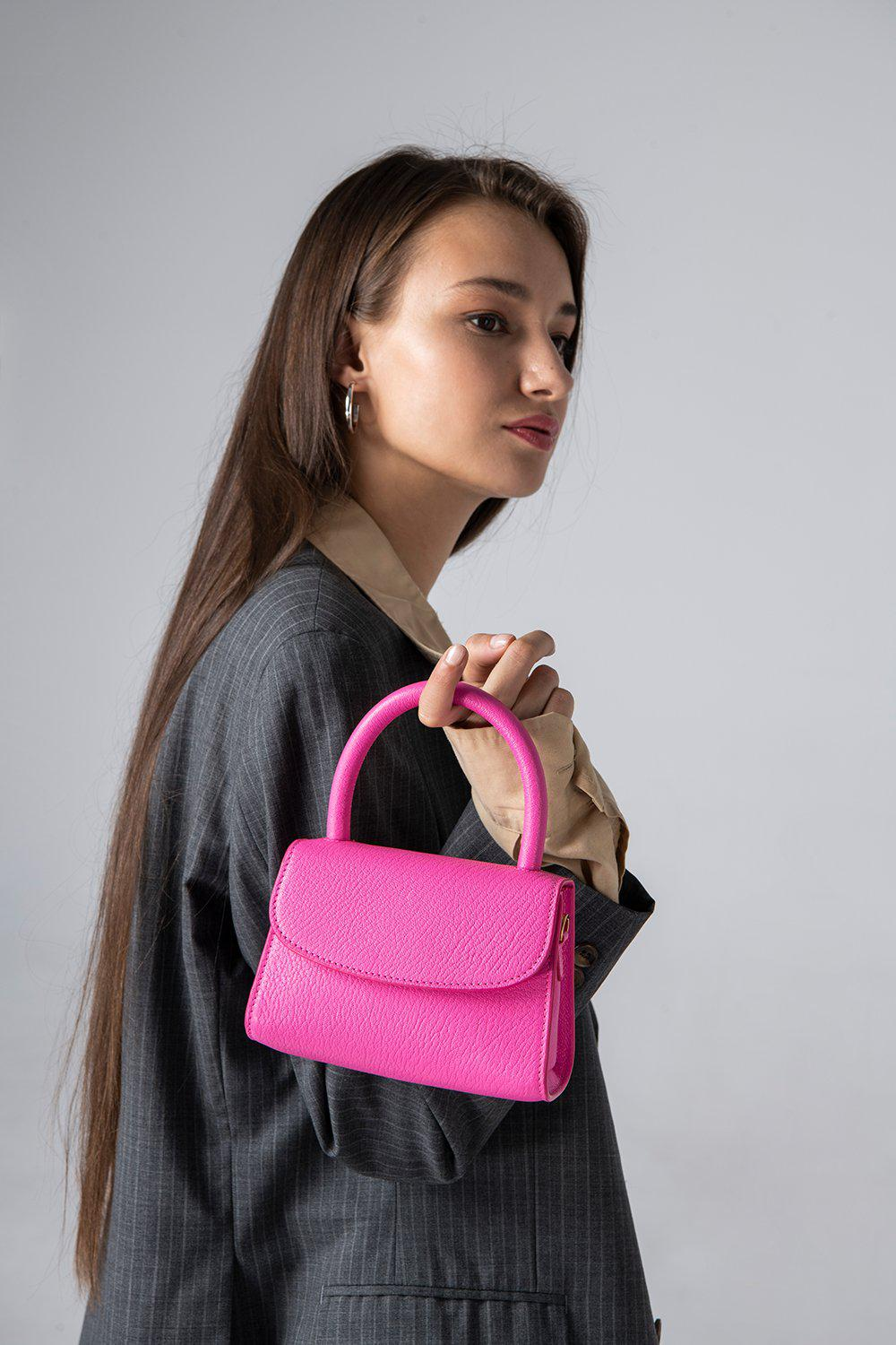 Mini Hot Pink Grained Leather 5