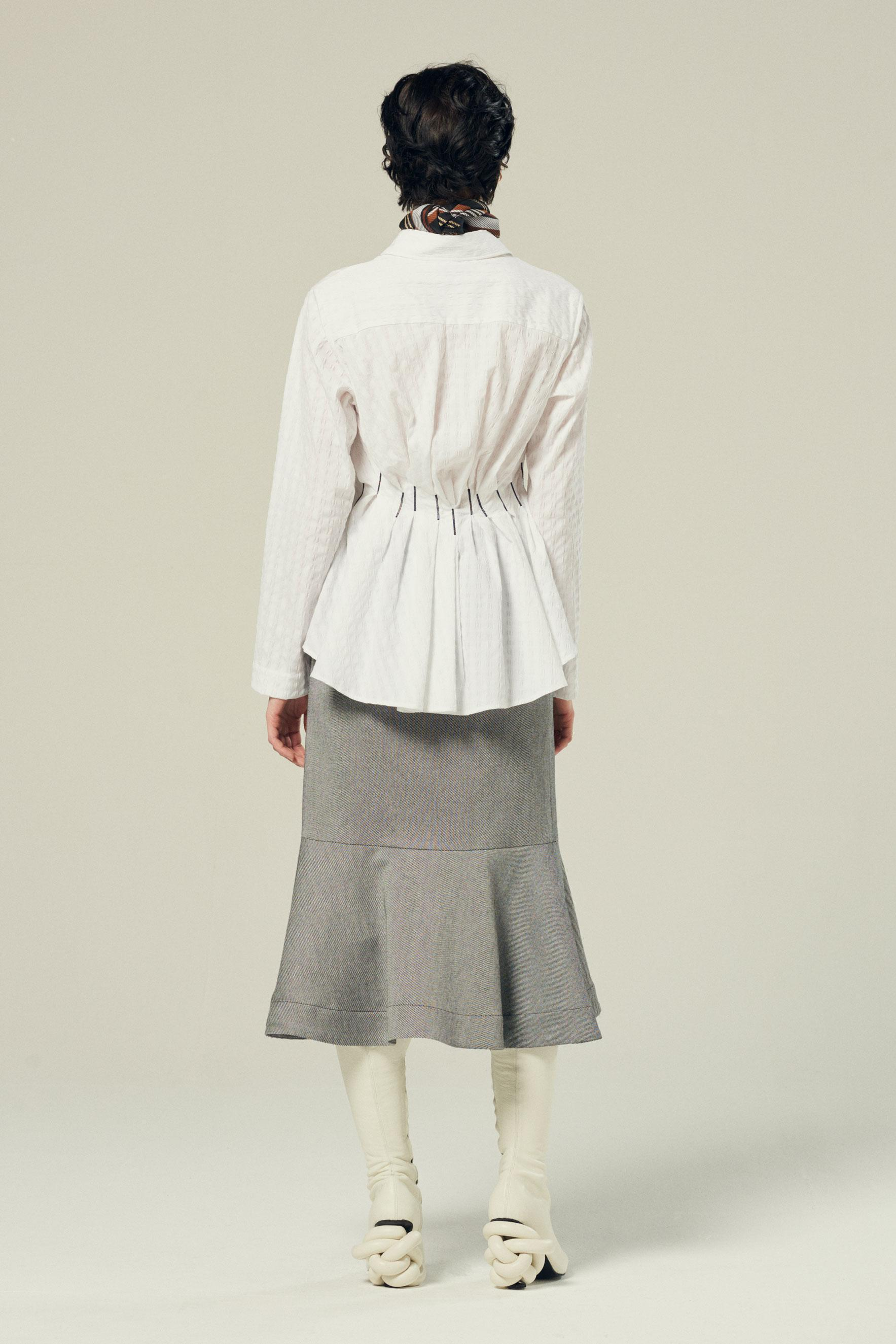 waisted pleated shirt in white textured cotton 4