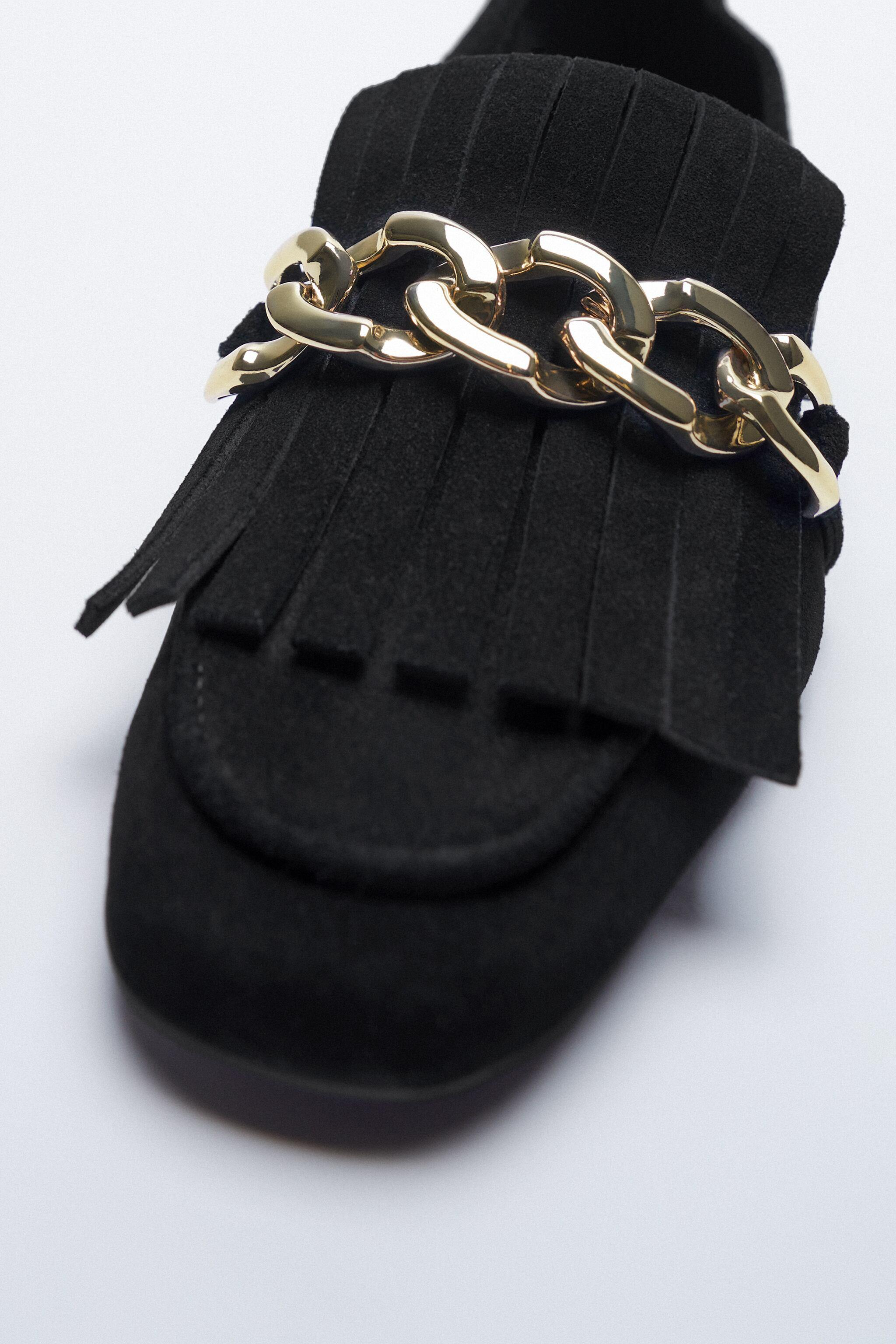 FRINGED SPLIT LEATHER MOCCASINS WITH CHAIN 8