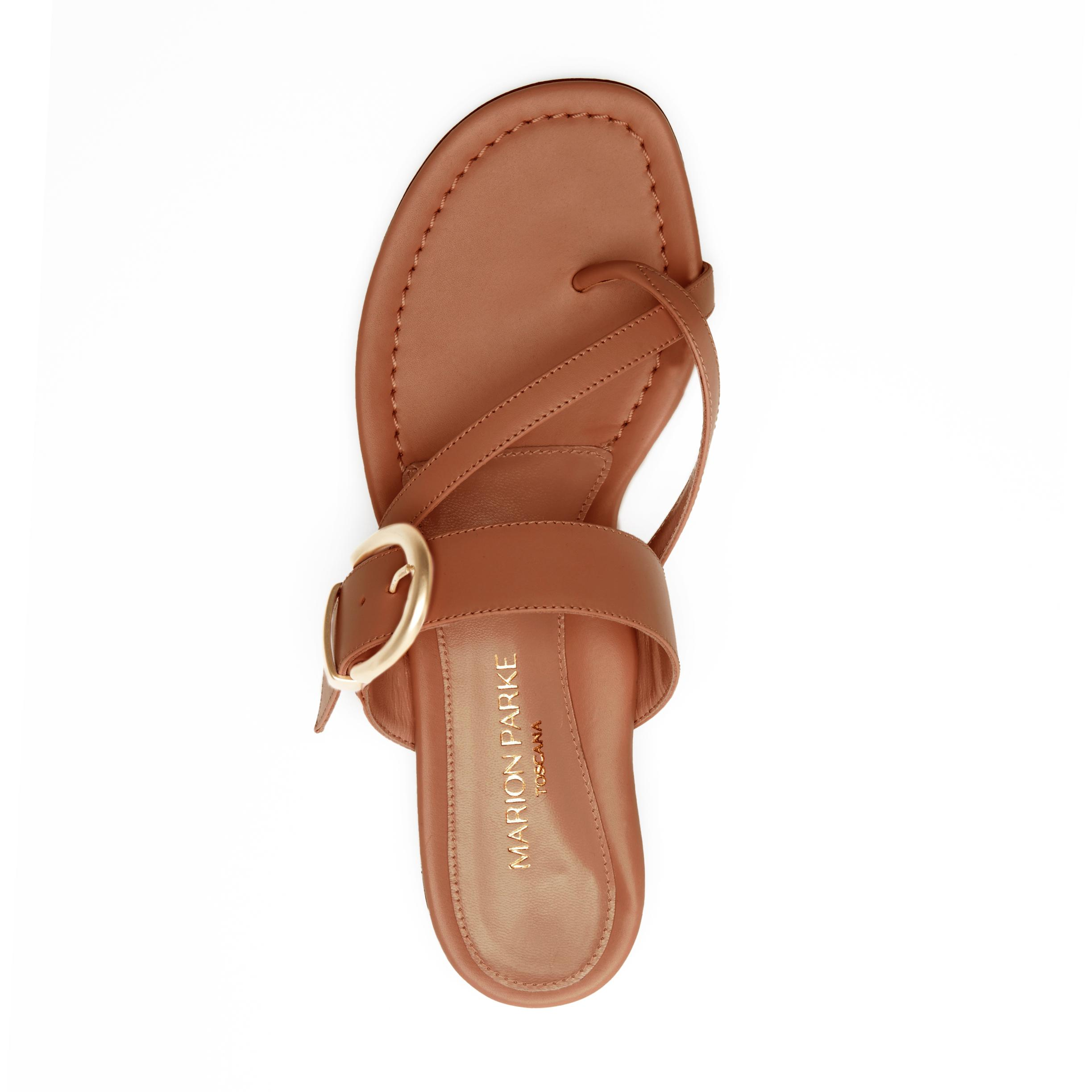 Hayley   Leather Thong Sandal With Metal Buckle Detail 2