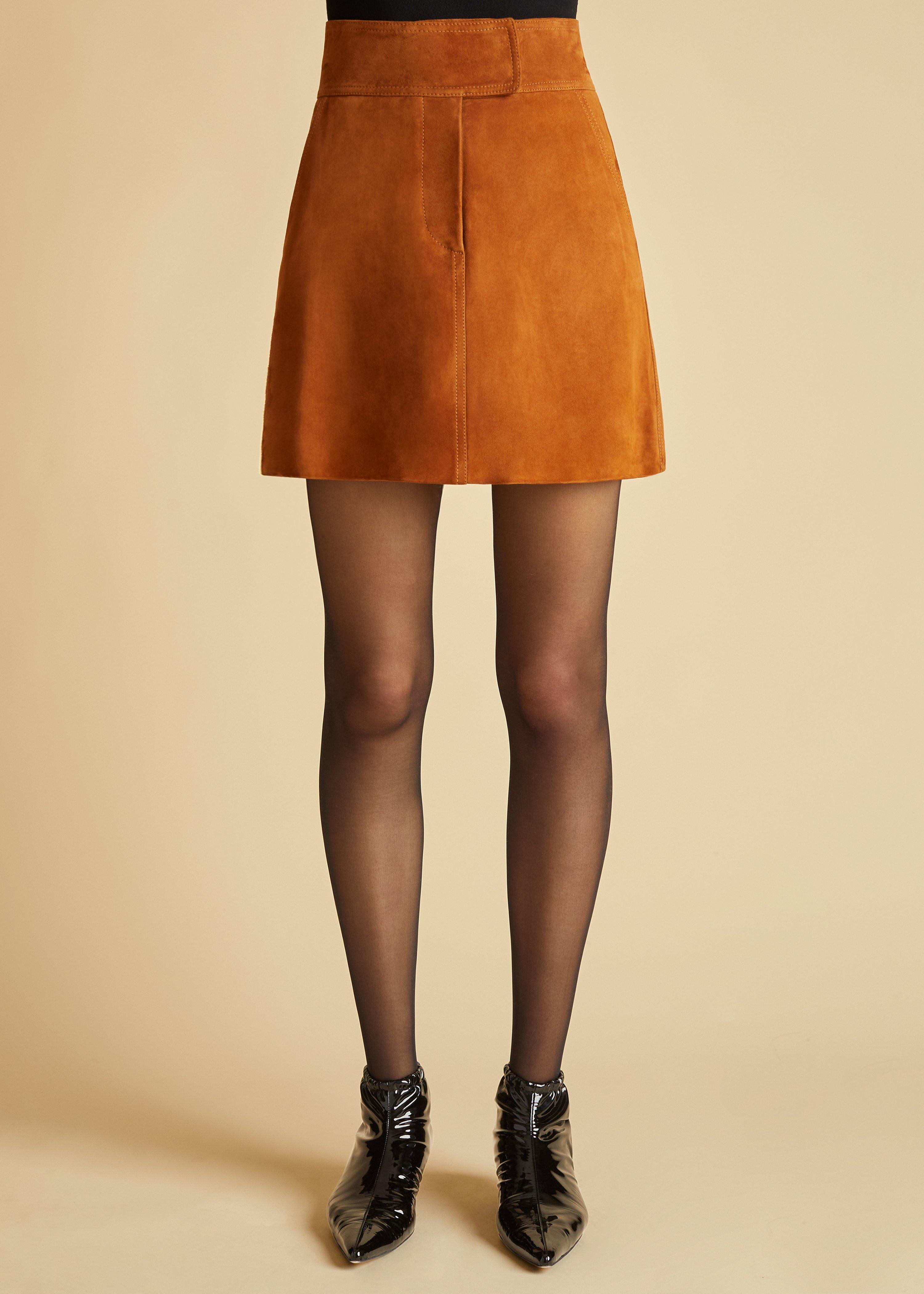 The Giulia Skirt in Chestnut Suede 1