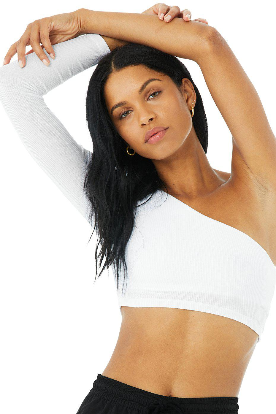 Ribbed Wave Crop Long Sleeve - White 3