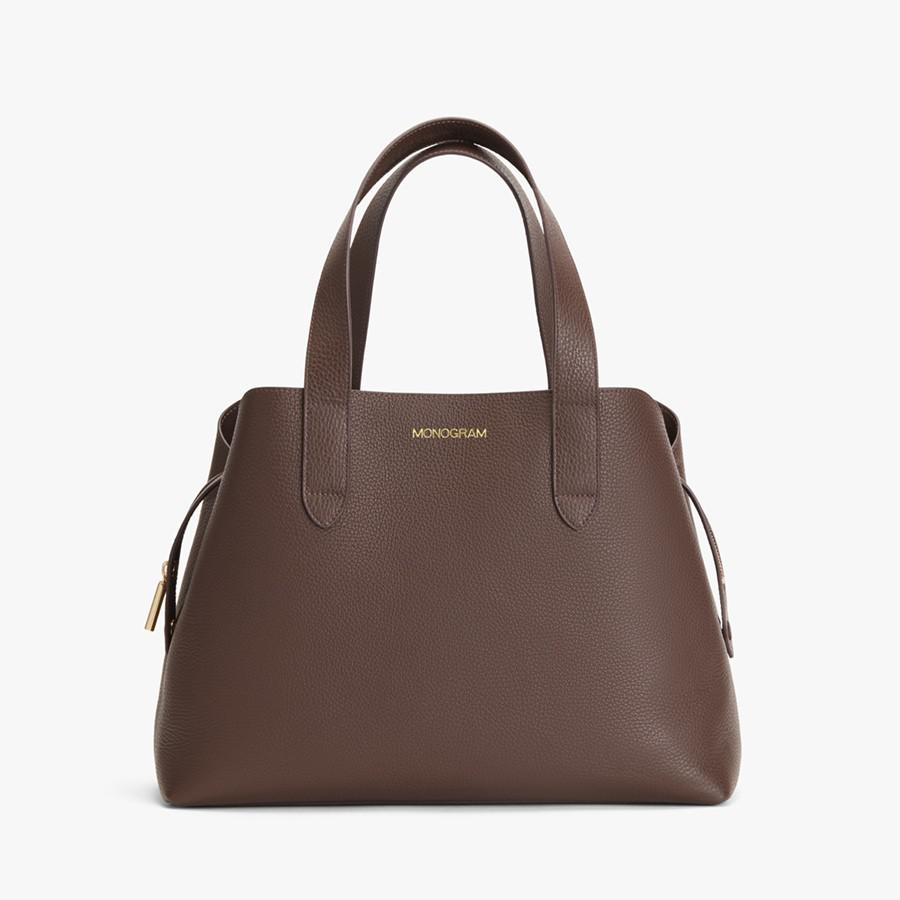 Women's Zippered Satchel Bag in Chocolate | Pebbled Leather by Cuyana 9