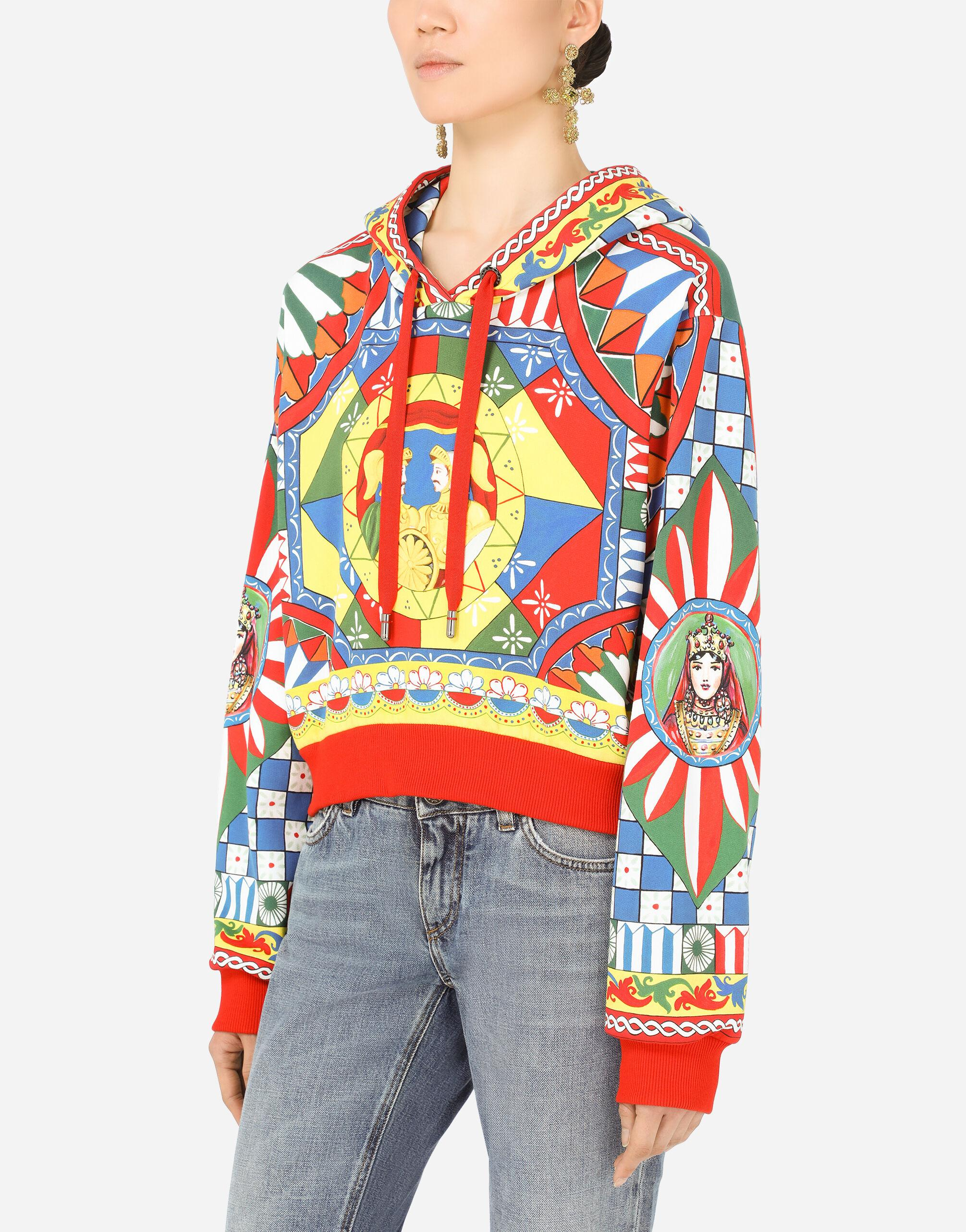 Cropped jersey hoodie with Carretto print 2