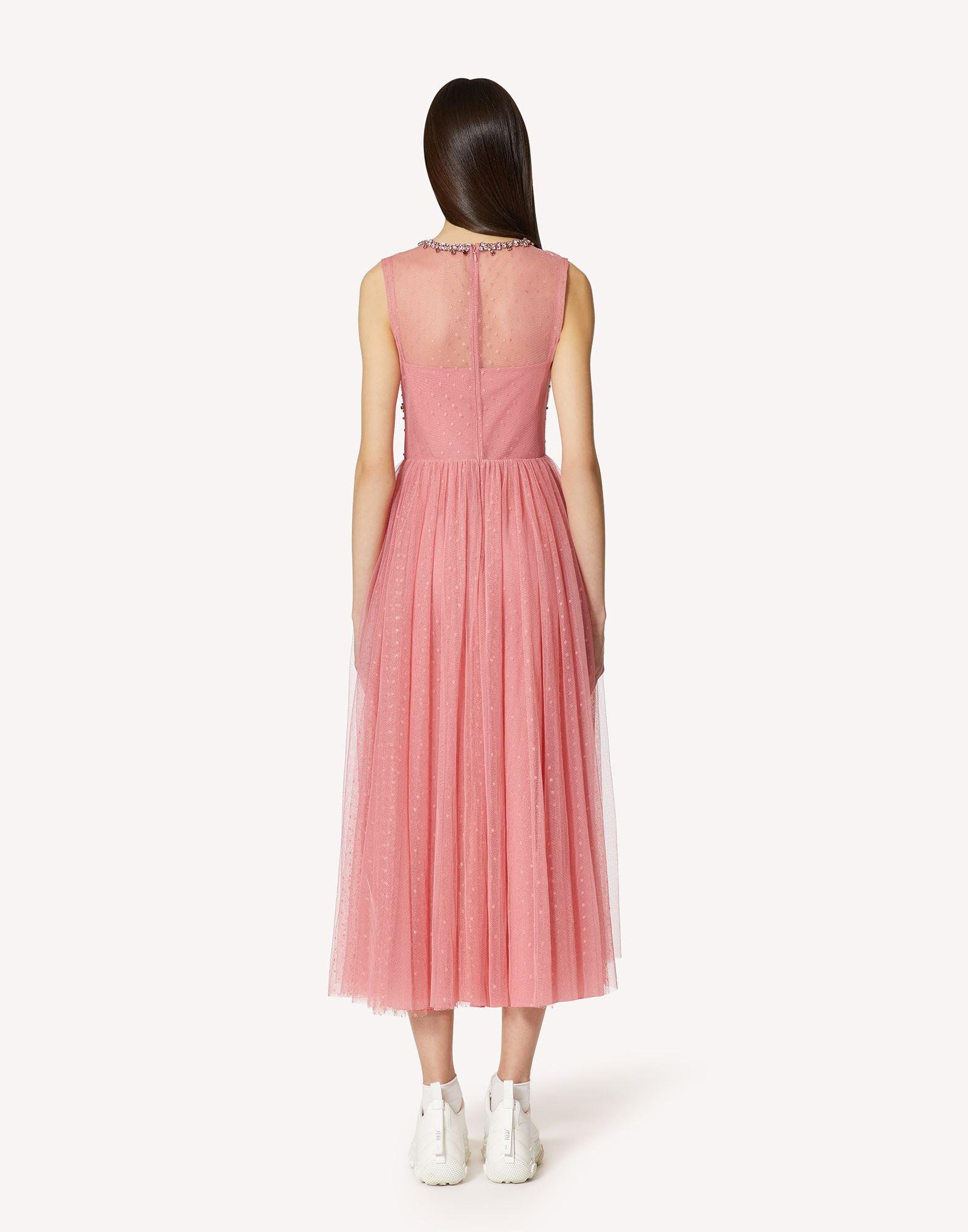 POINT D'ESPRIT TULLE DRESS WITH RHINESTONE EMBROIDERY 1