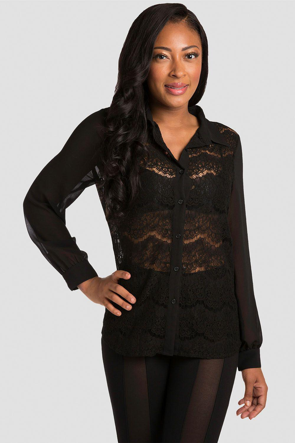 Coco Black Lace Collared Shirt