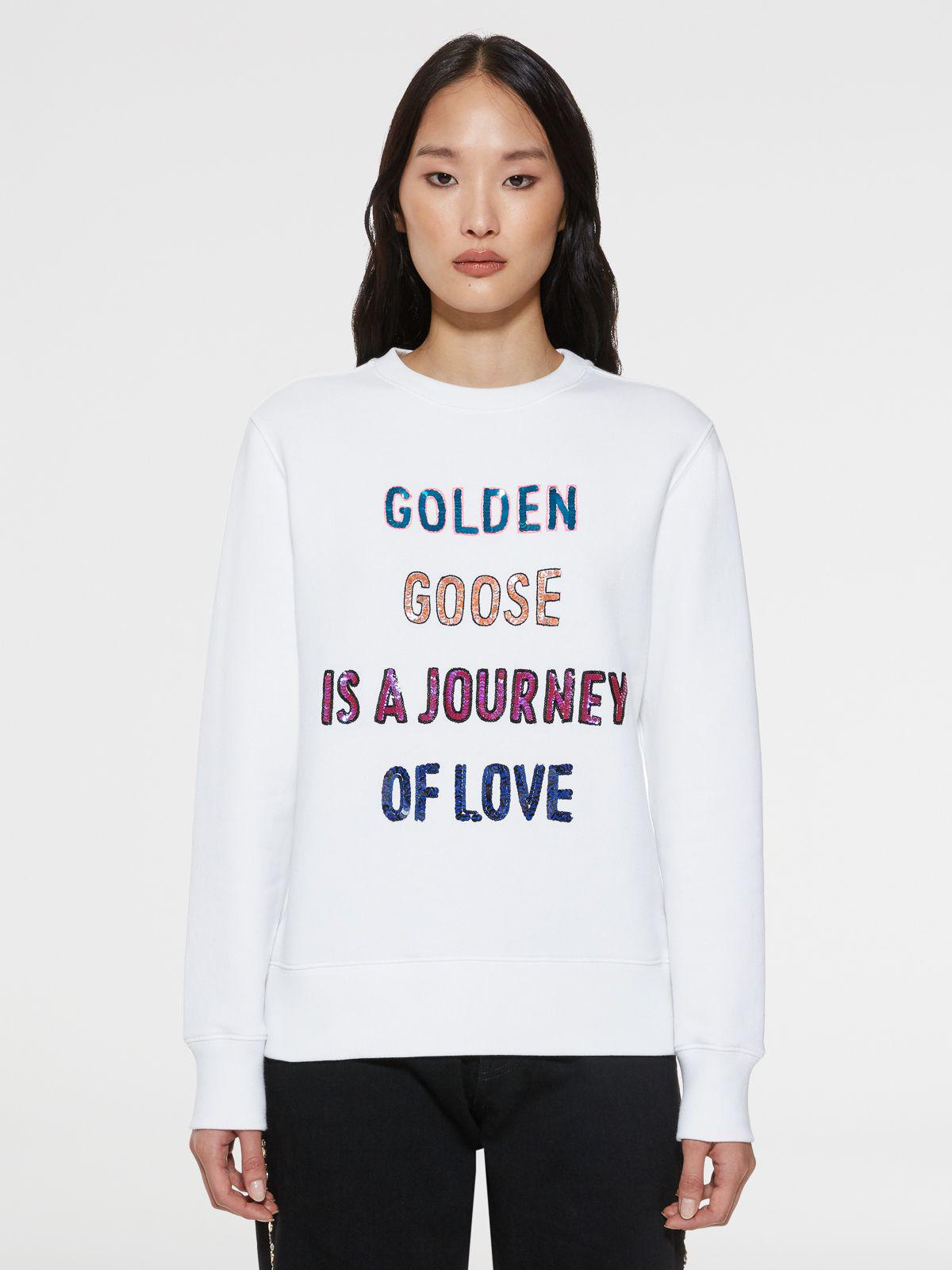 White Athena sweatshirt with sequinned lettering