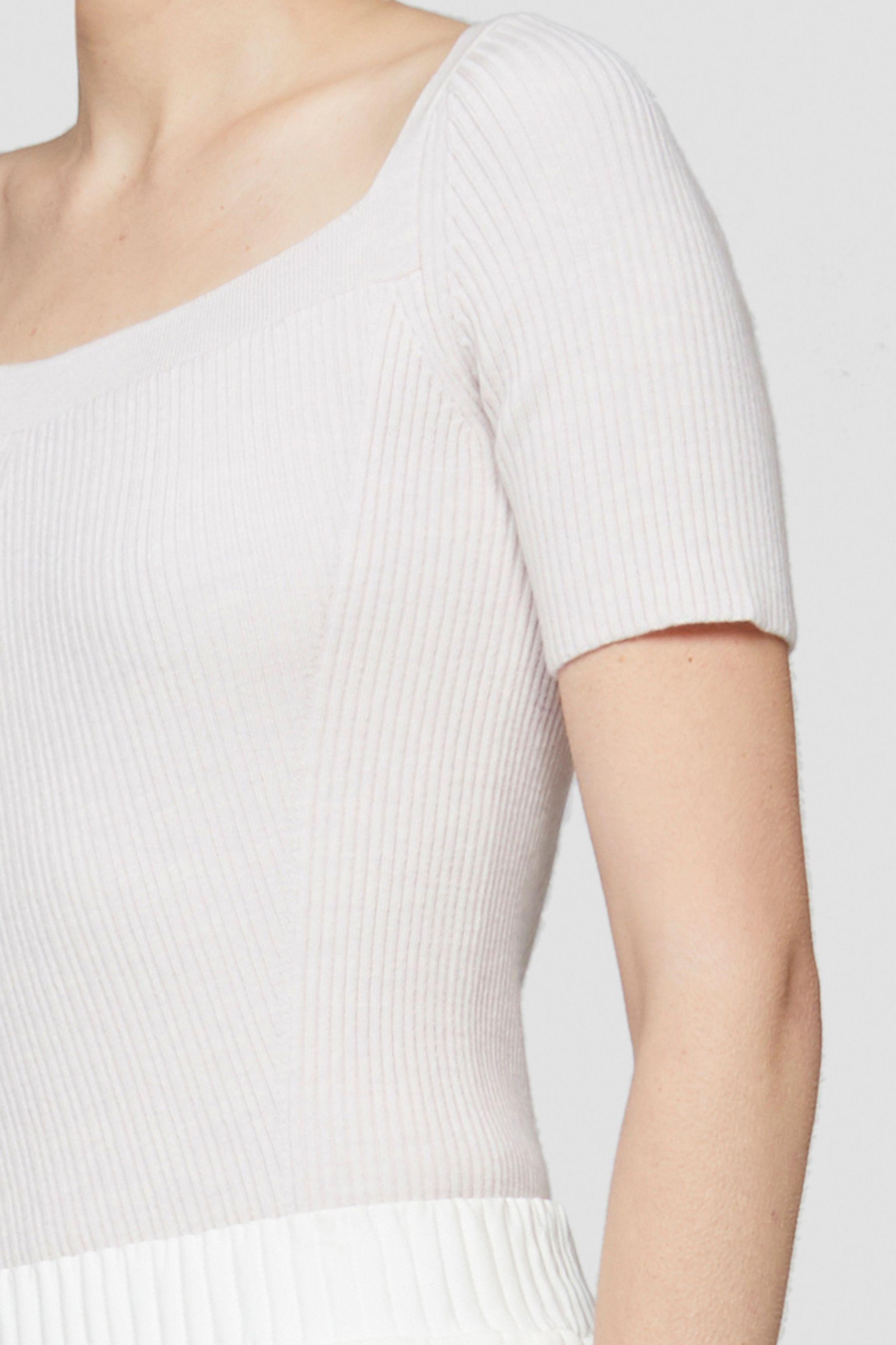 Open Neck Short Sleeve Ribbed Sweater 4