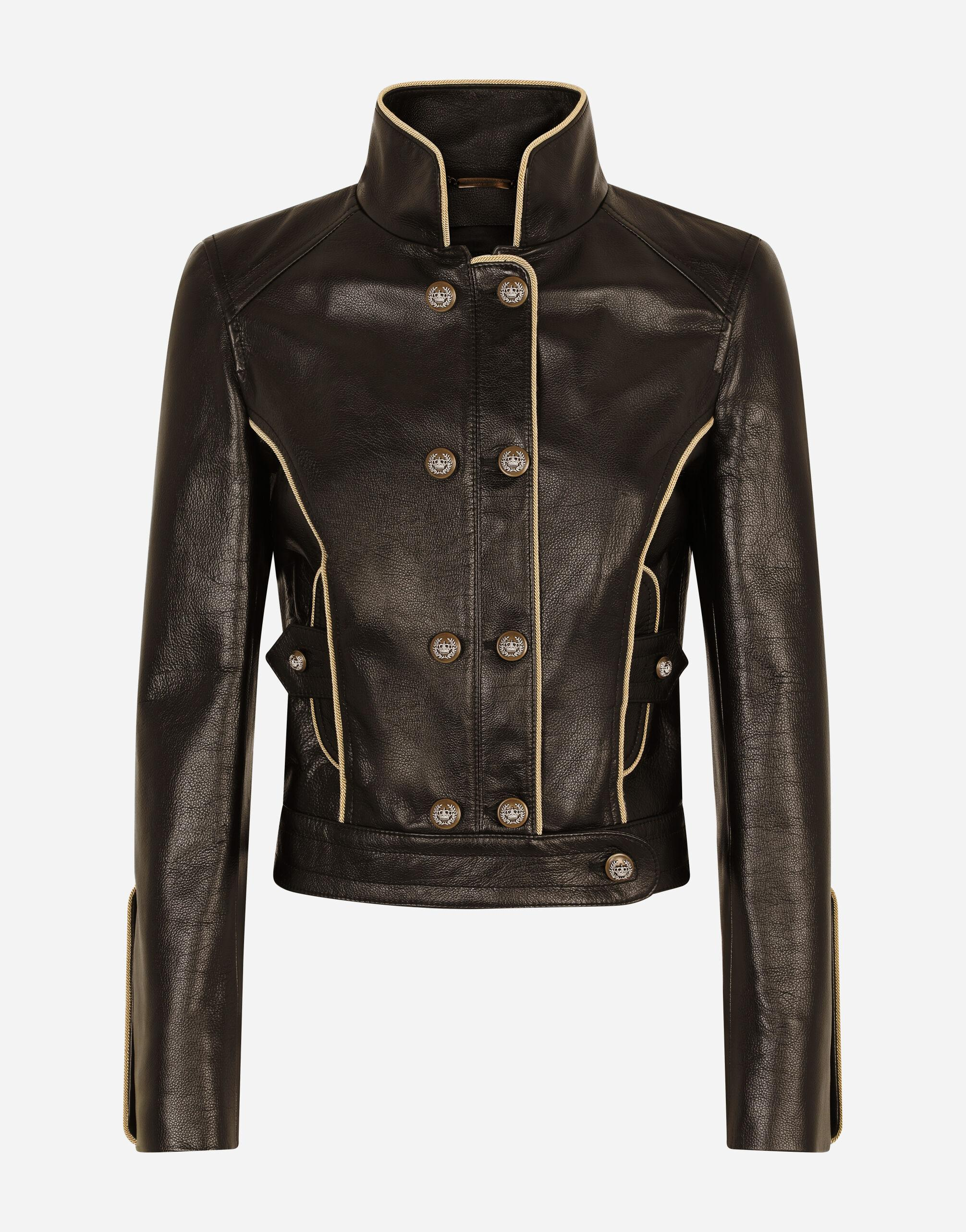 Leather biker jacket with heraldic buttons 5