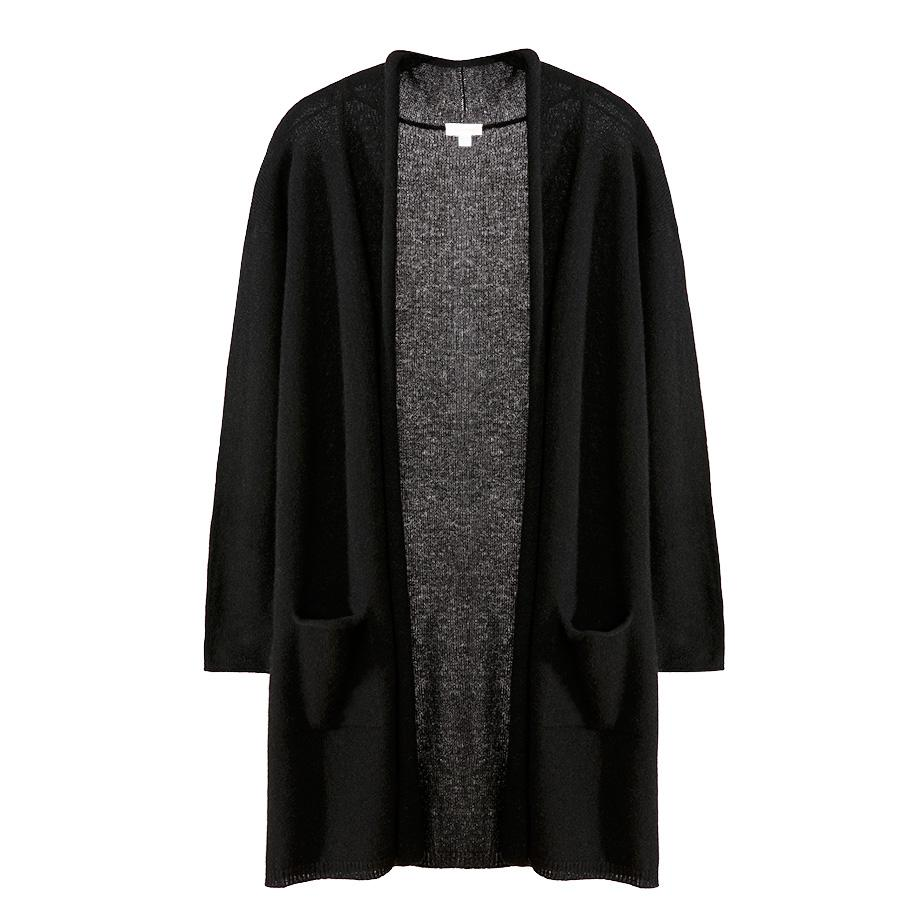 Women's Open Cashmere Cardigan in Black | Size: XS/Small | 100% Italian Cashmere by Cuyana