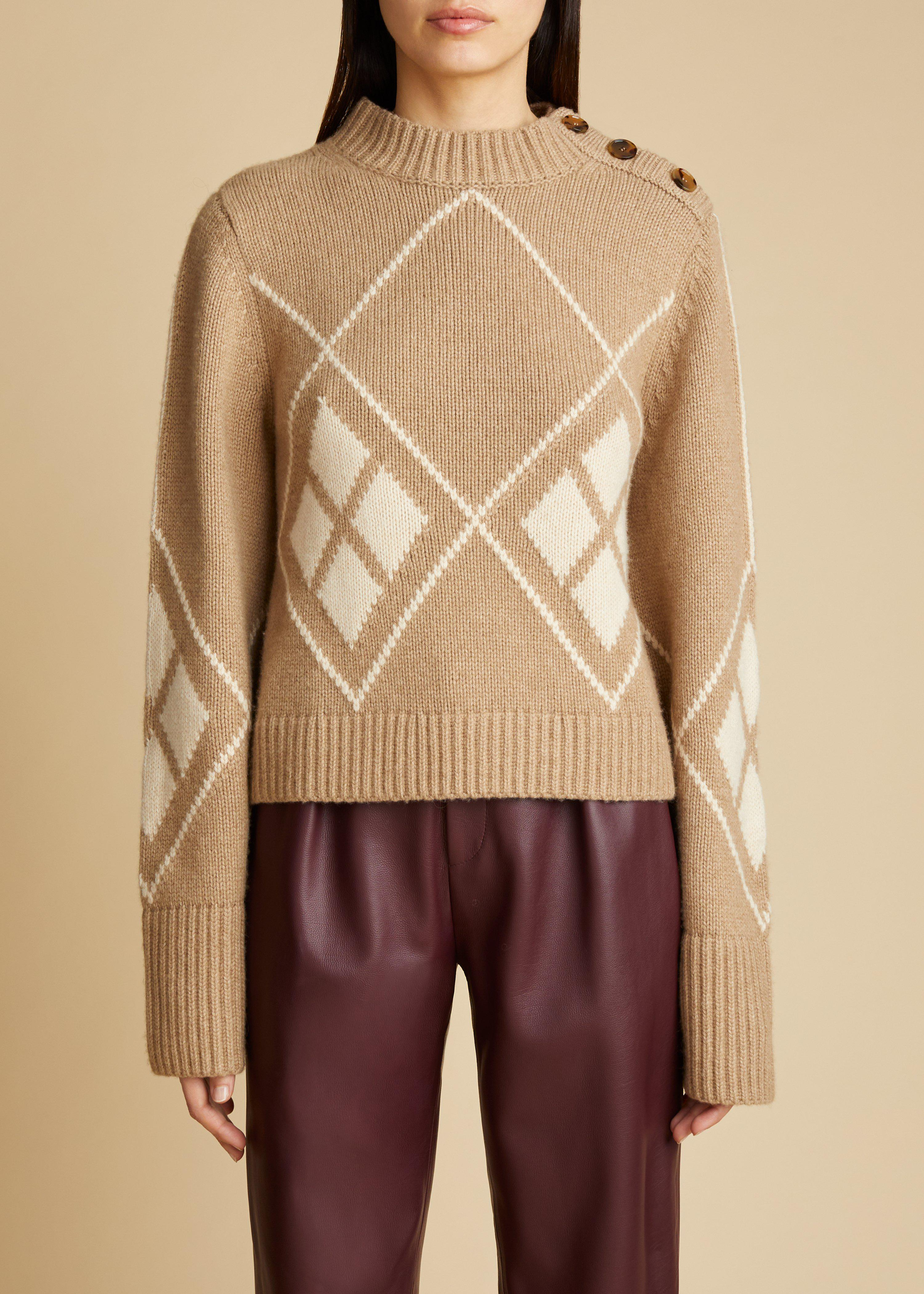 The Brie Sweater in Camel and Custard